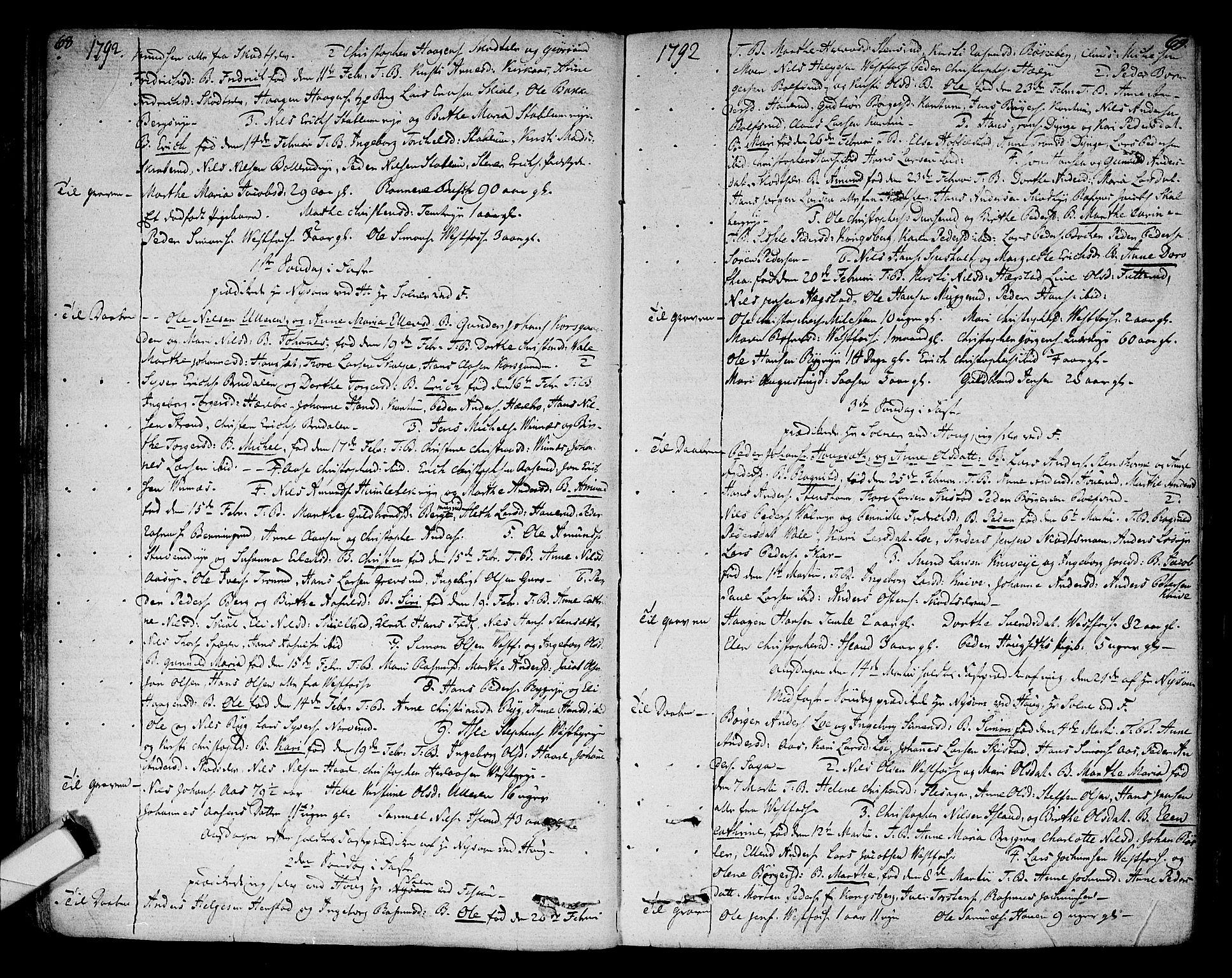 SAKO, Eiker kirkebøker, F/Fa/L0009: Parish register (official) no. I 9, 1789-1806, p. 68-69