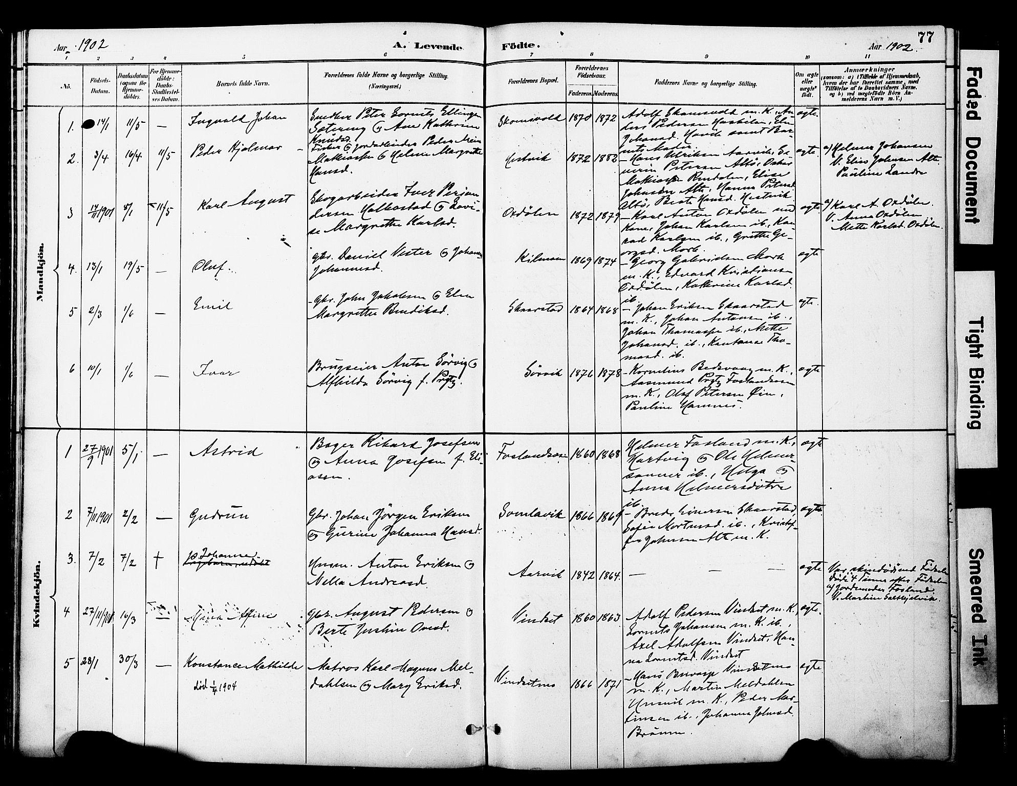 SAT, Ministerialprotokoller, klokkerbøker og fødselsregistre - Nord-Trøndelag, 774/L0628: Parish register (official) no. 774A02, 1887-1903, p. 77