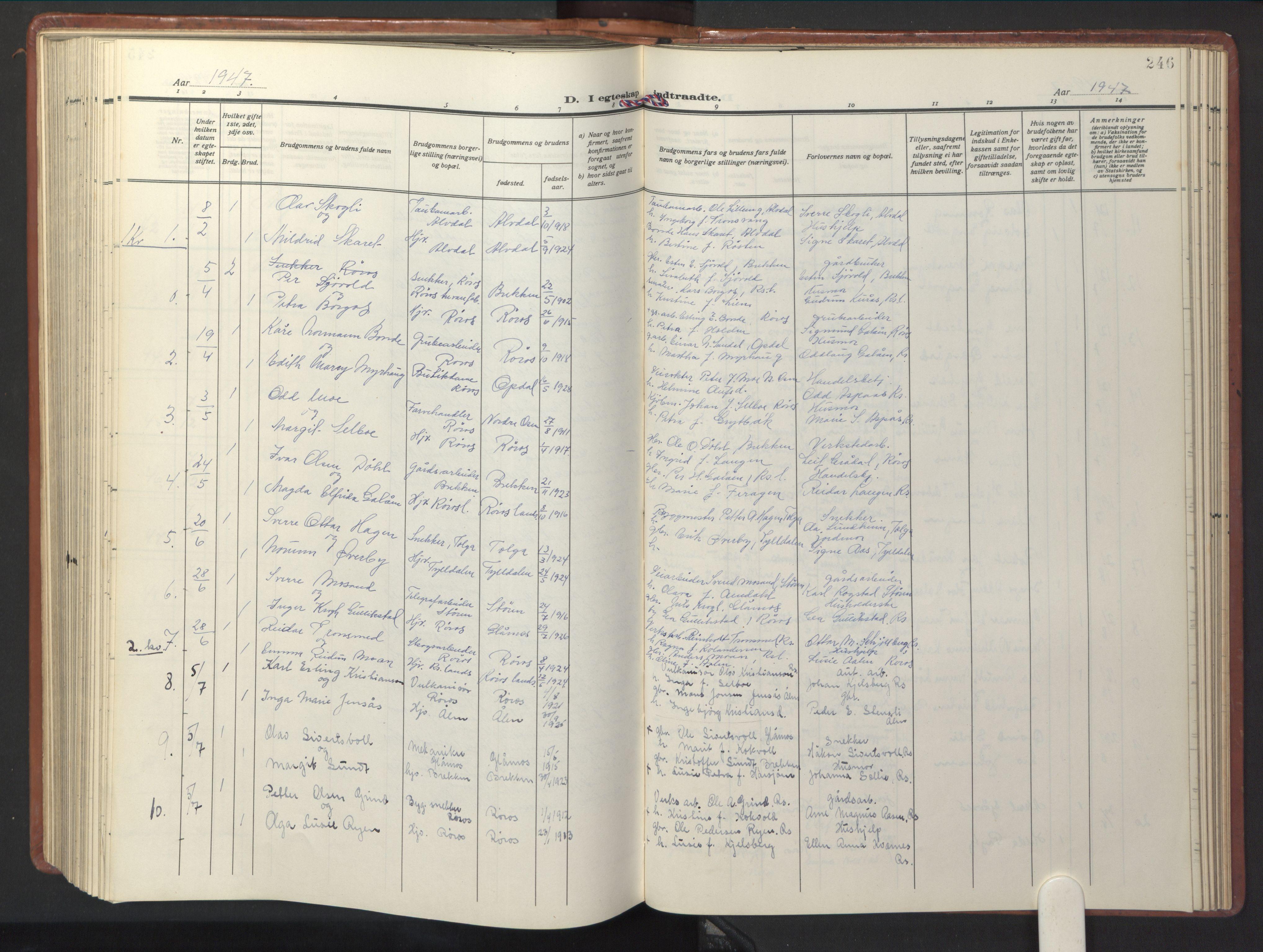 SAT, Ministerialprotokoller, klokkerbøker og fødselsregistre - Sør-Trøndelag, 681/L0943: Parish register (copy) no. 681C07, 1926-1954, p. 246