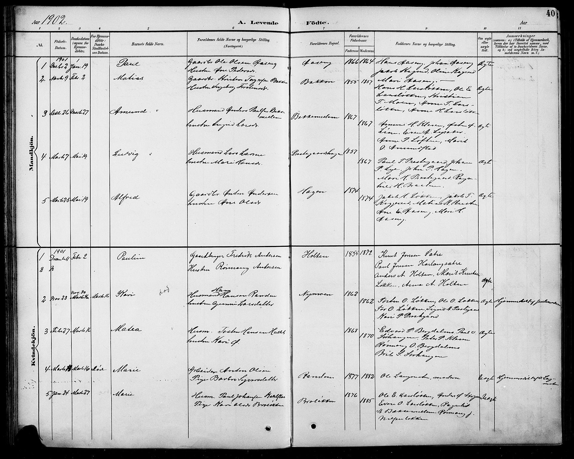 SAH, Sel prestekontor, Parish register (copy) no. 5, 1894-1923, p. 40
