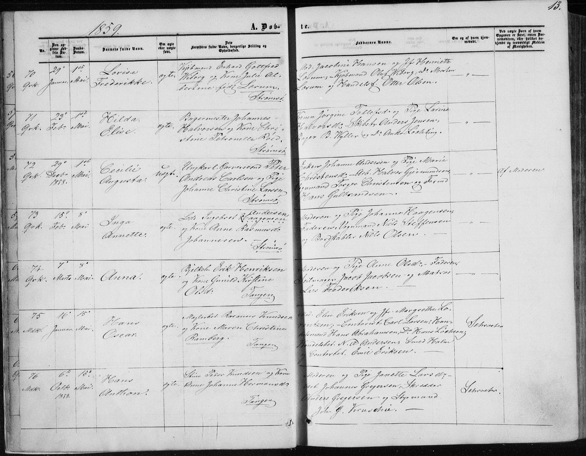 SAKO, Strømsø kirkebøker, F/Fa/L0015: Parish register (official) no. I 15, 1859-1868, p. 13