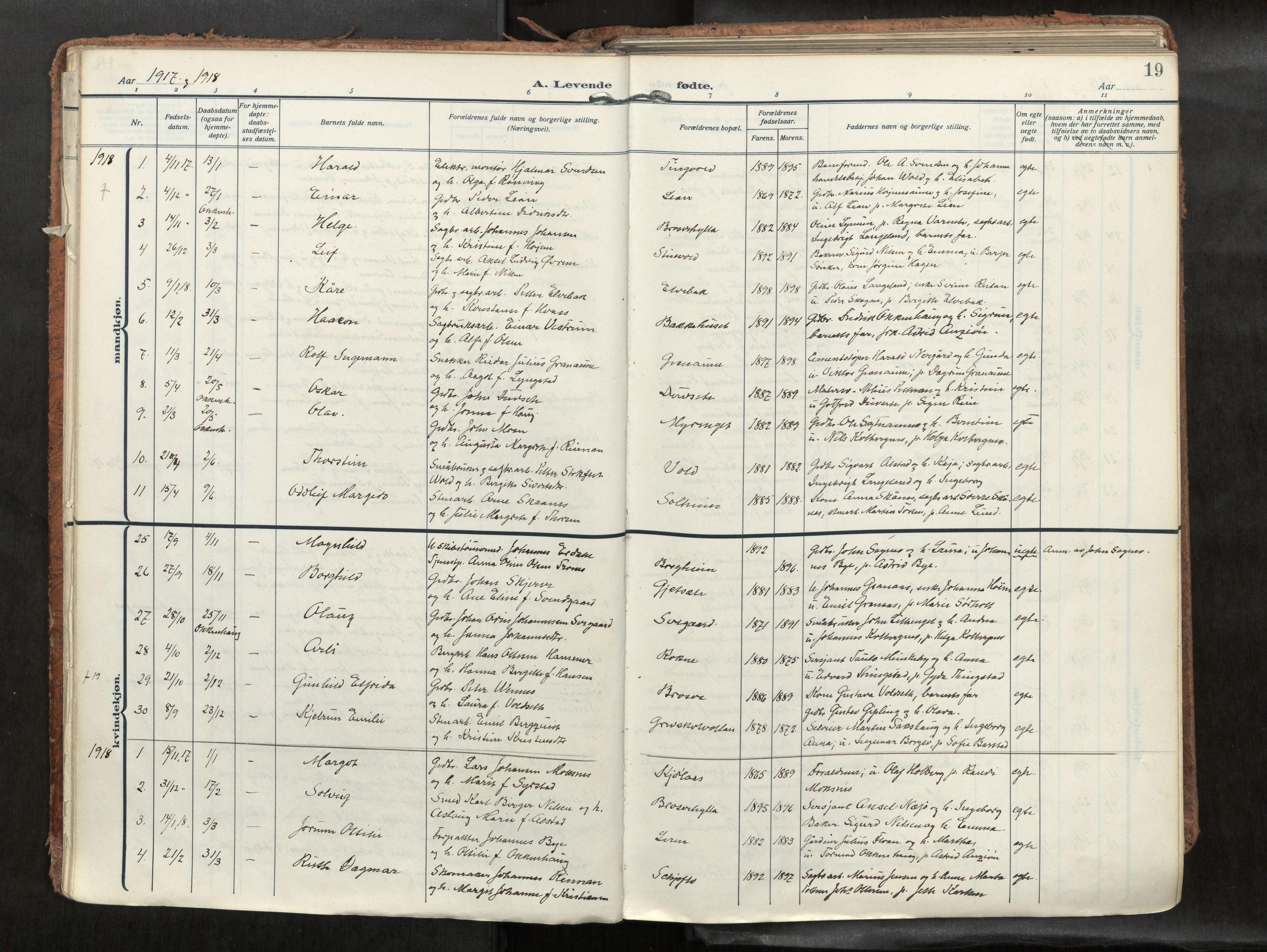 SAT, Levanger sokneprestkontor*, Parish register (official) no. 1, 1912-1935, p. 19