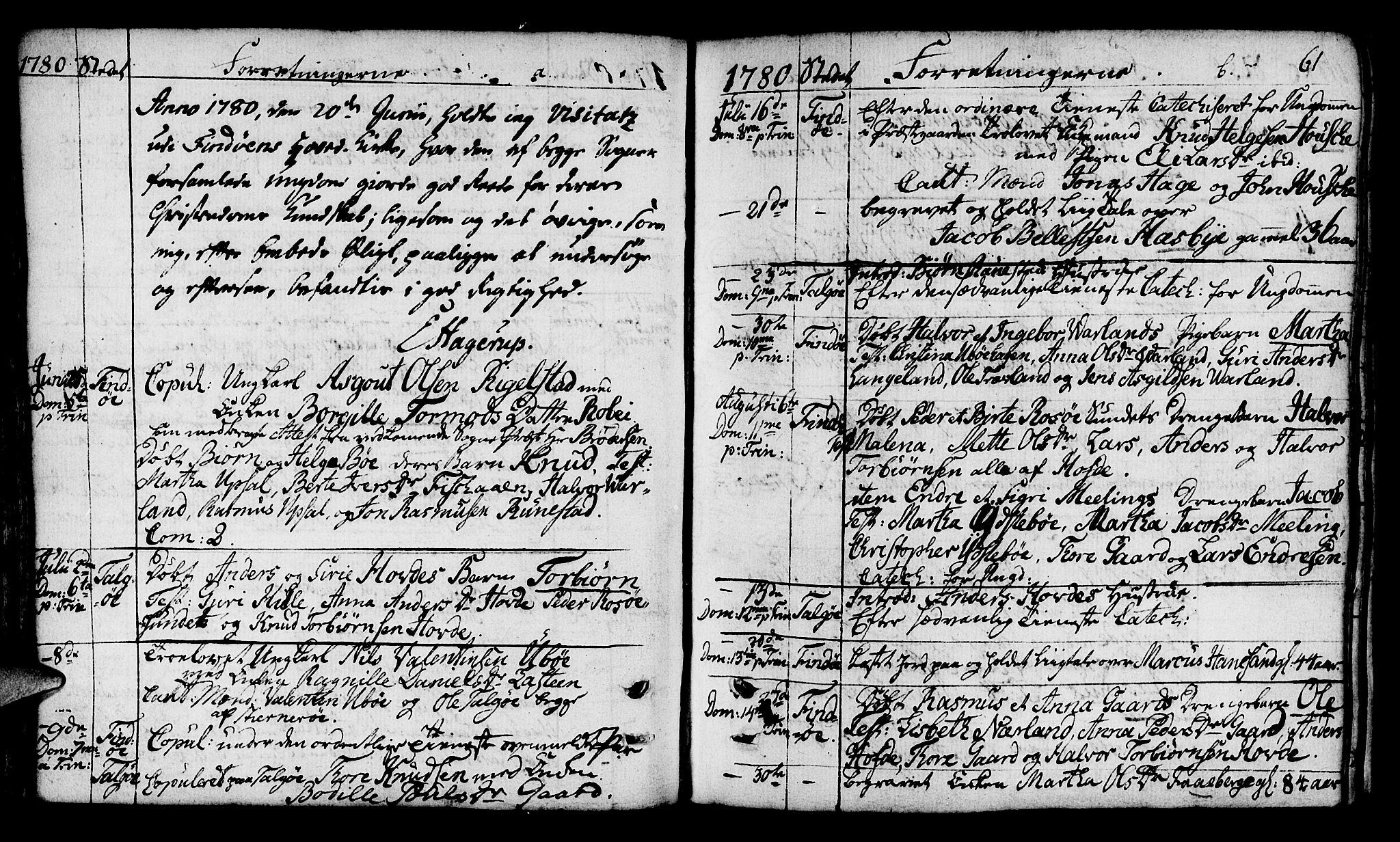 SAST, Finnøy sokneprestkontor, H/Ha/Haa/L0005: Parish register (official) no. A 5, 1773-1816, p. 61