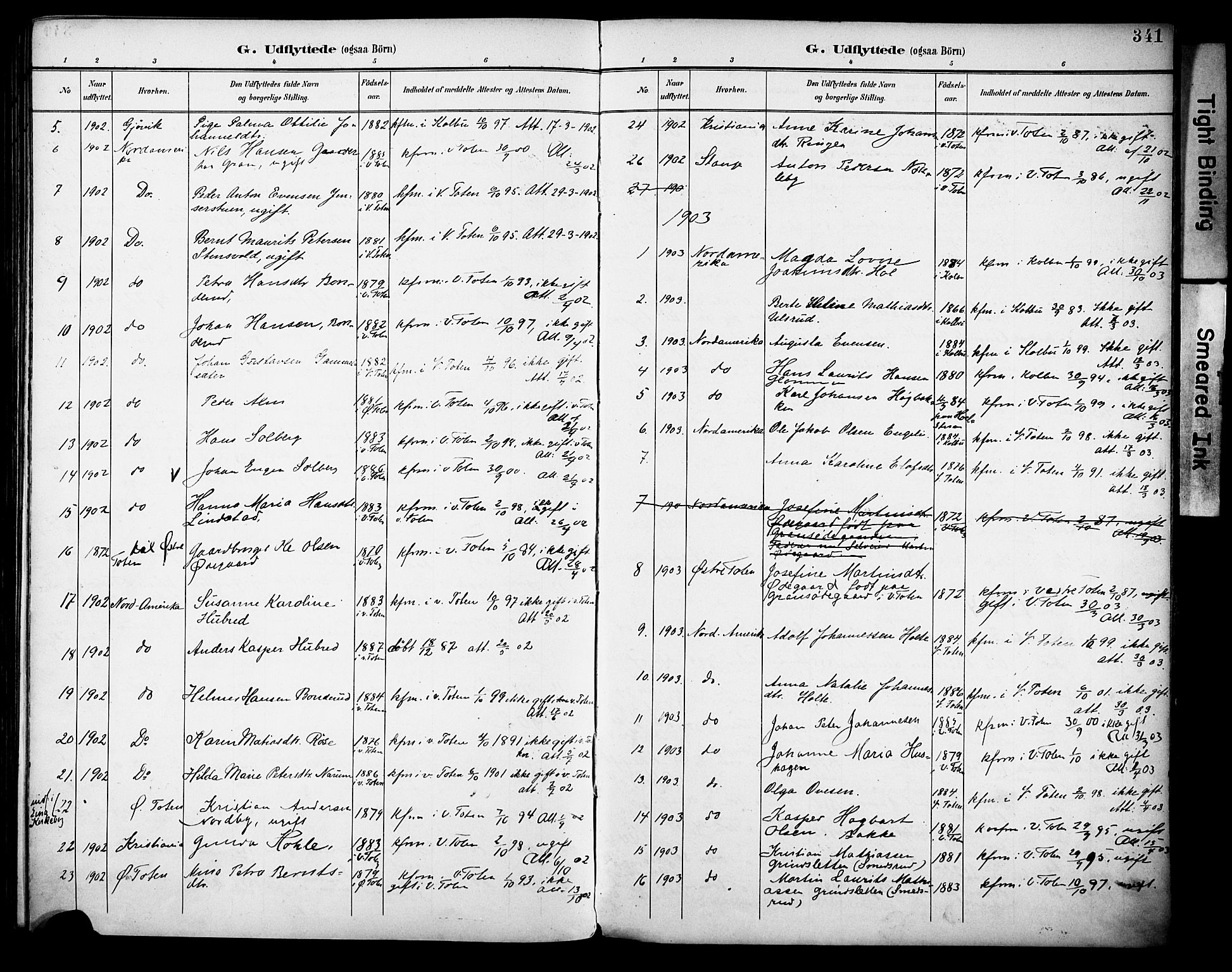 SAH, Vestre Toten prestekontor, H/Ha/Haa/L0013: Parish register (official) no. 13, 1895-1911, p. 341