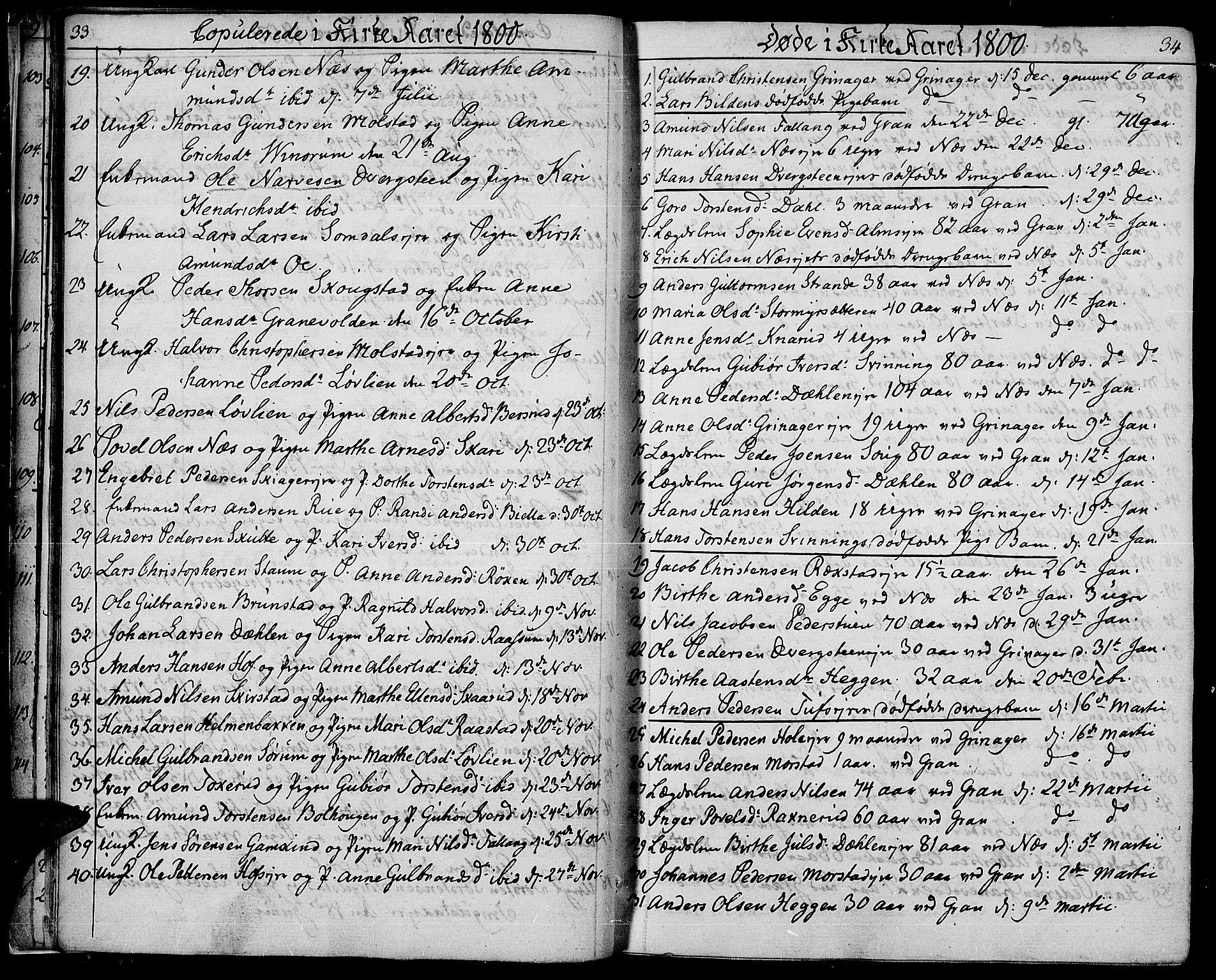 SAH, Gran prestekontor, Parish register (official) no. 8, 1798-1811, p. 33-34