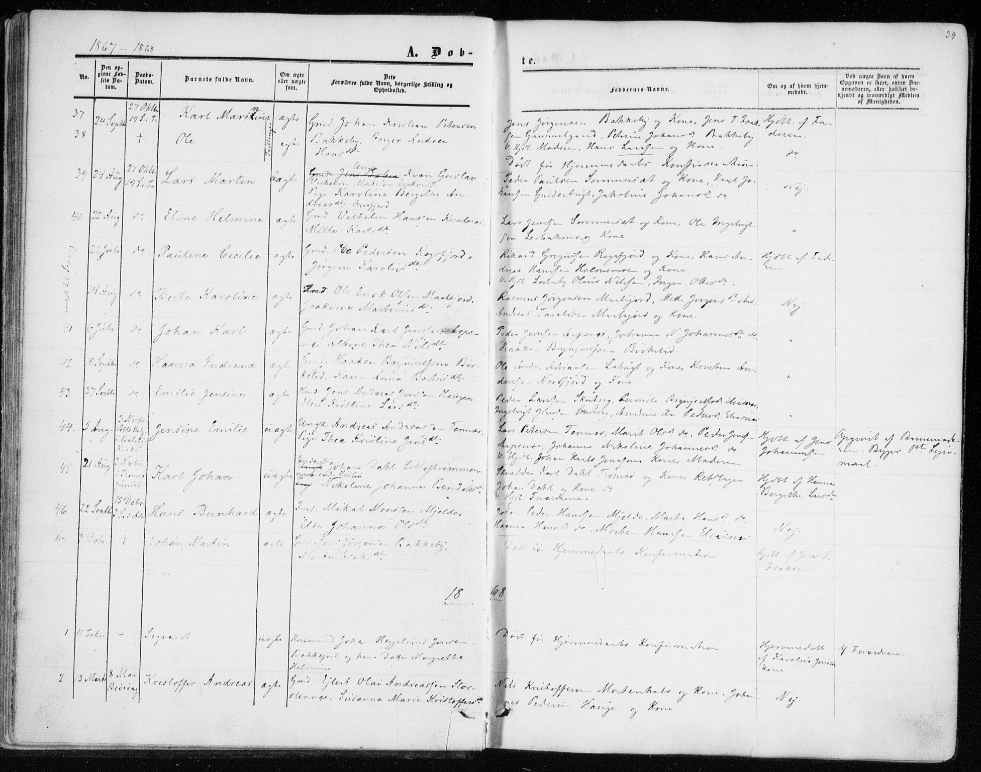 SATØ, Balsfjord sokneprestembete, Parish register (official) no. 1, 1858-1870, p. 39