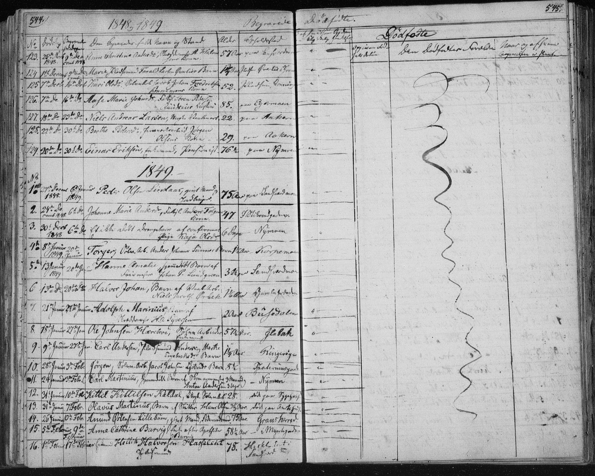 SAKO, Kongsberg kirkebøker, F/Fa/L0009: Parish register (official) no. I 9, 1839-1858, p. 544-545