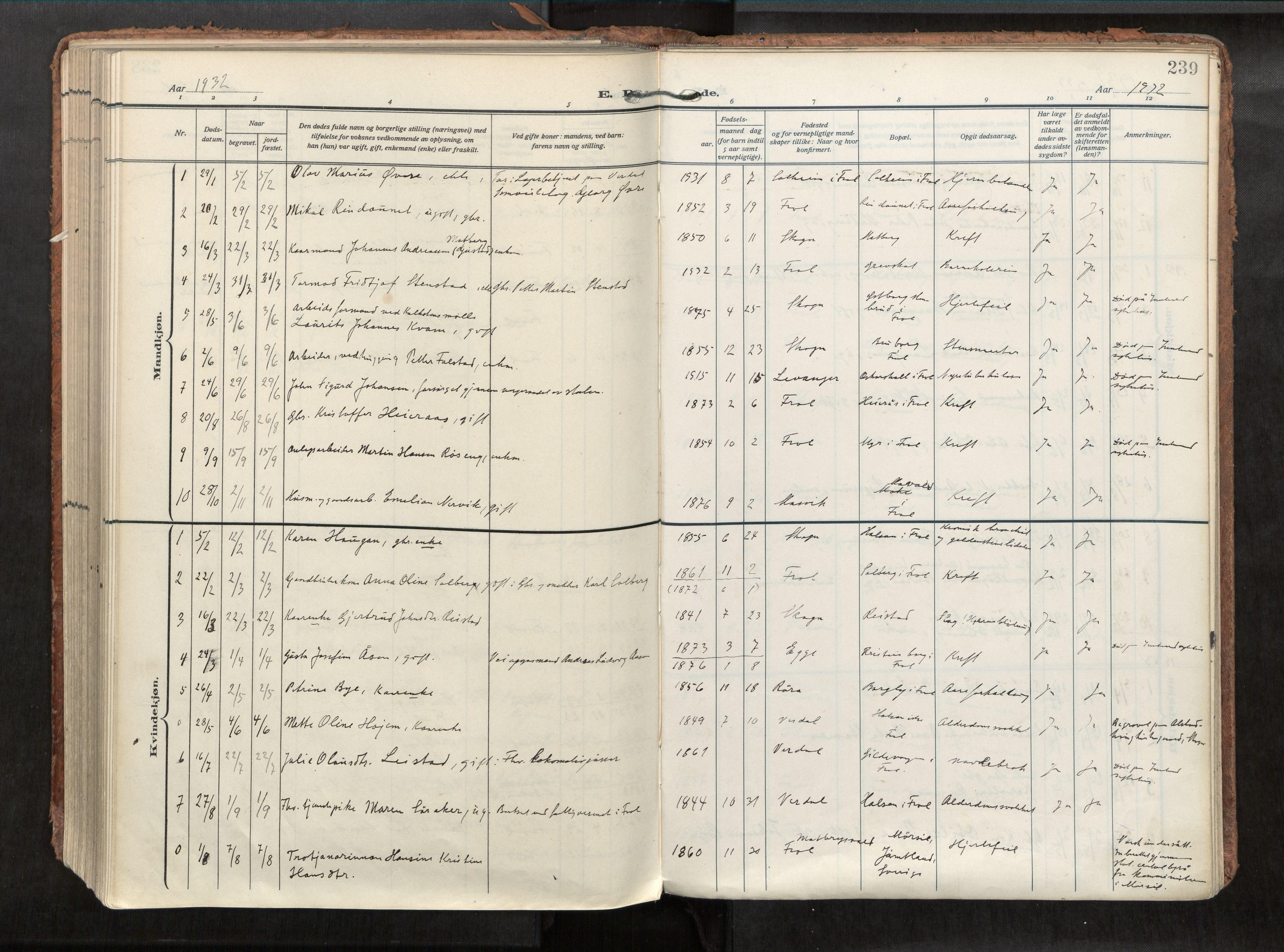 SAT, Levanger sokneprestkontor*, Parish register (official) no. 1, 1912-1935, p. 239