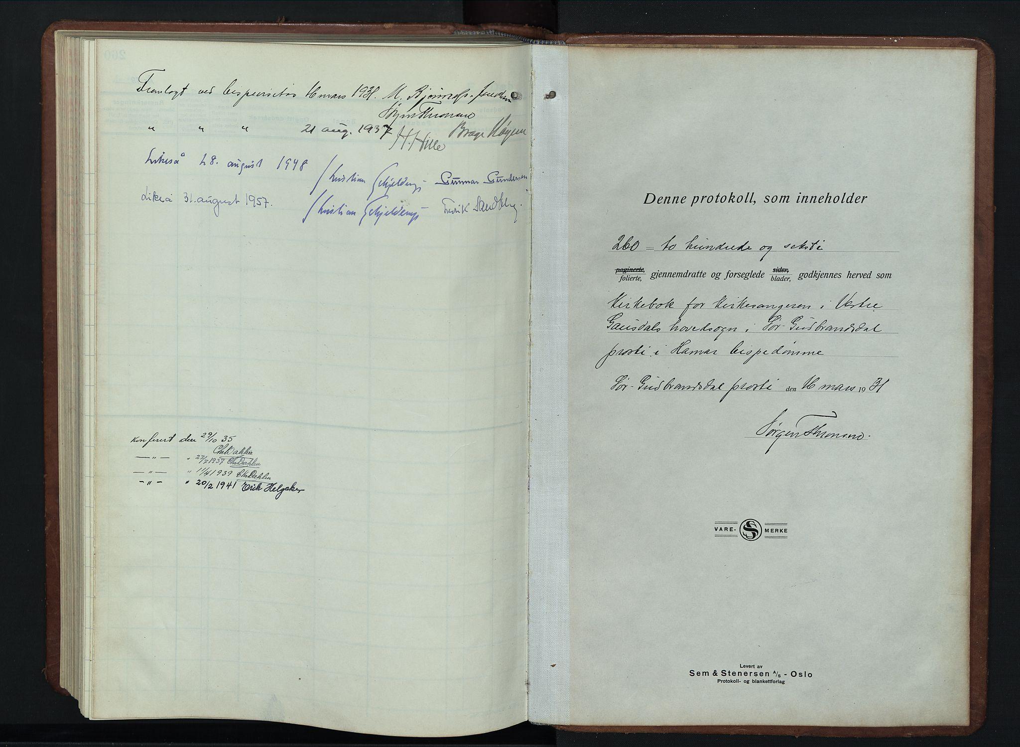 SAH, Vestre Gausdal prestekontor, Parish register (copy) no. 5, 1926-1955