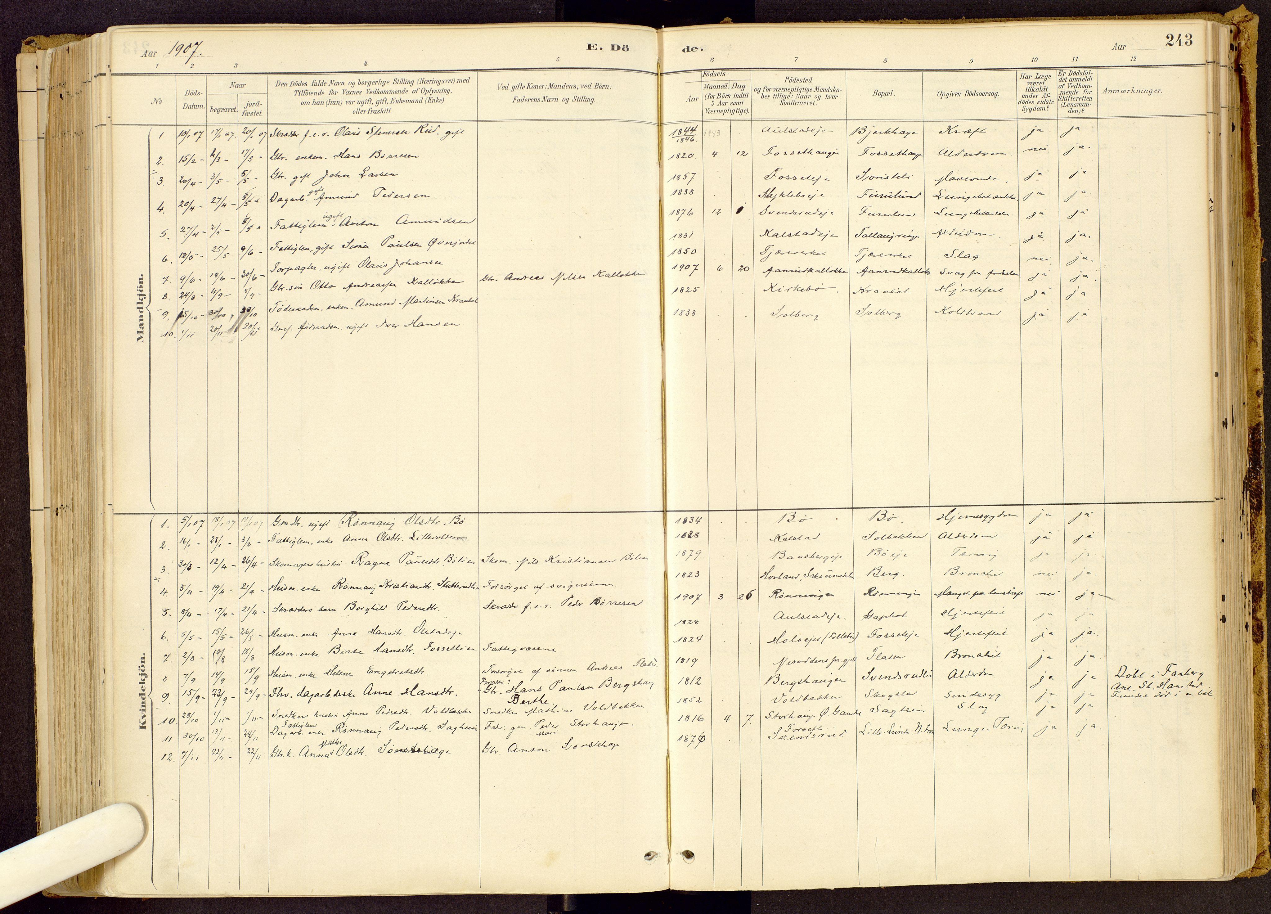 SAH, Vestre Gausdal prestekontor, Parish register (official) no. 1, 1887-1914, p. 243