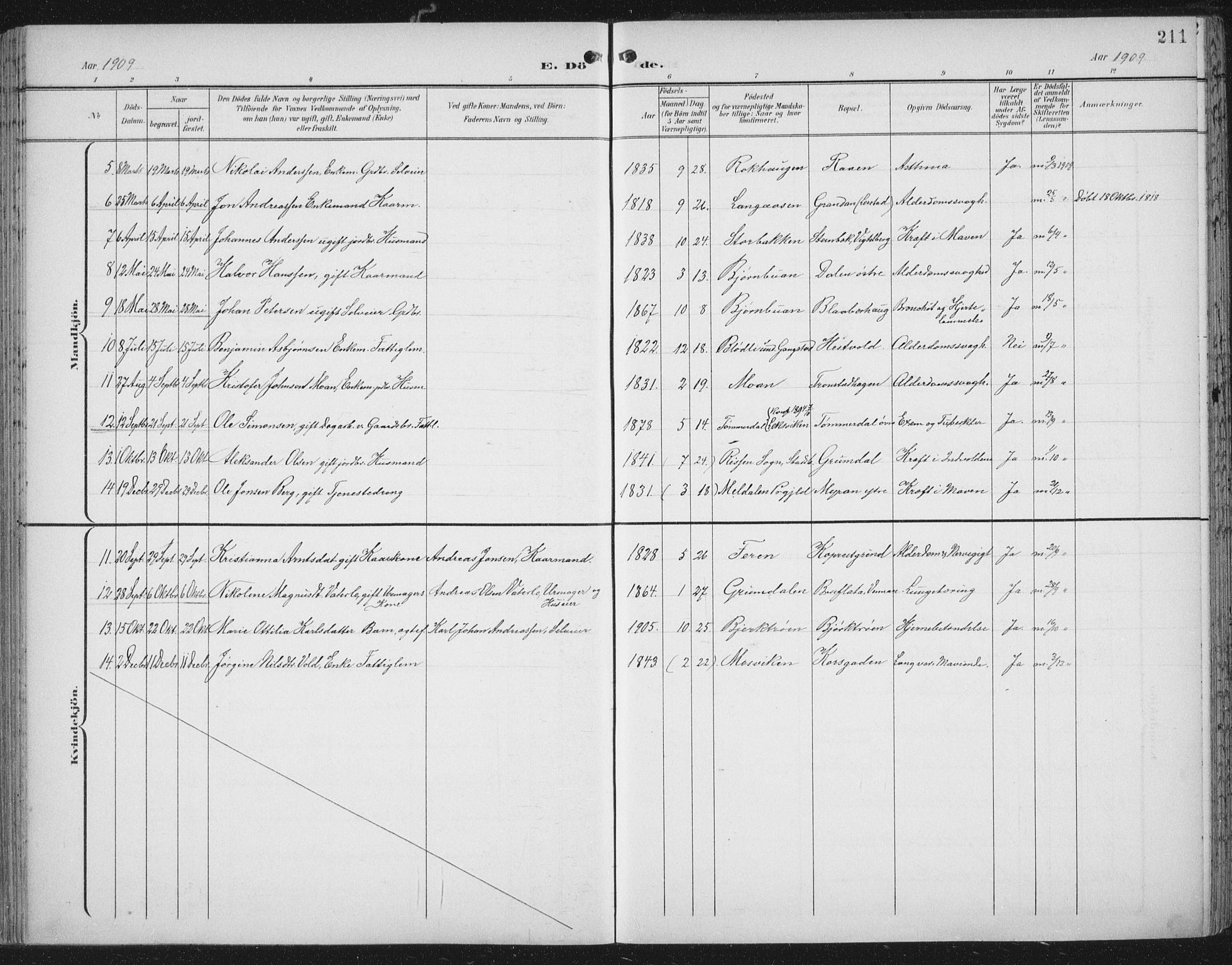 SAT, Ministerialprotokoller, klokkerbøker og fødselsregistre - Nord-Trøndelag, 701/L0011: Parish register (official) no. 701A11, 1899-1915, p. 211