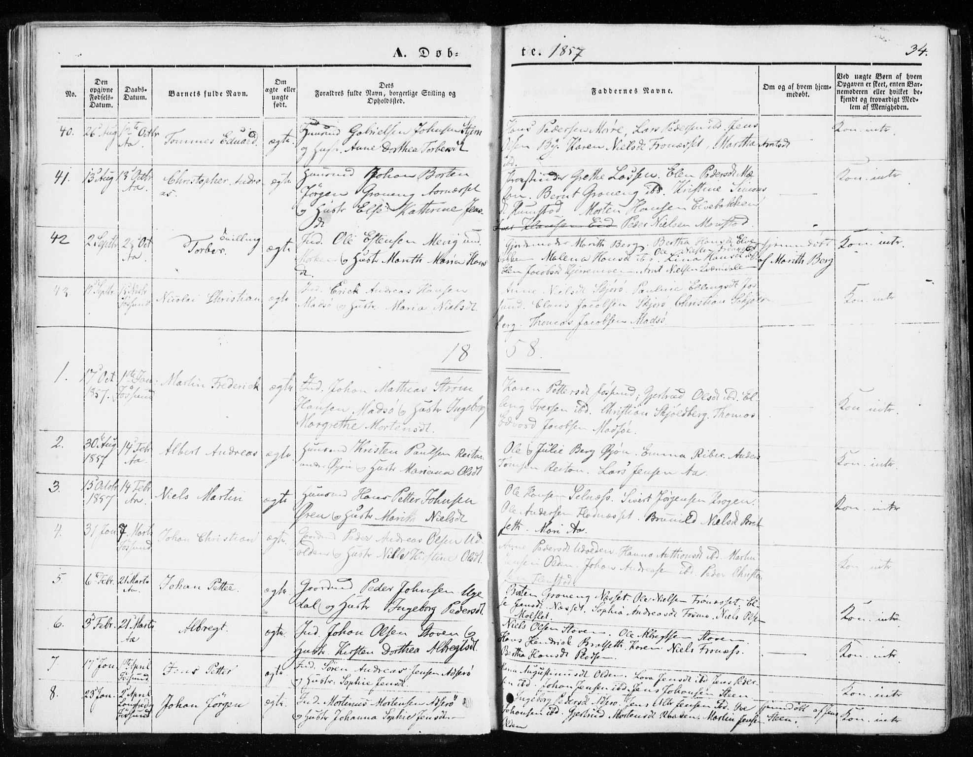 SAT, Ministerialprotokoller, klokkerbøker og fødselsregistre - Sør-Trøndelag, 655/L0677: Parish register (official) no. 655A06, 1847-1860, p. 34