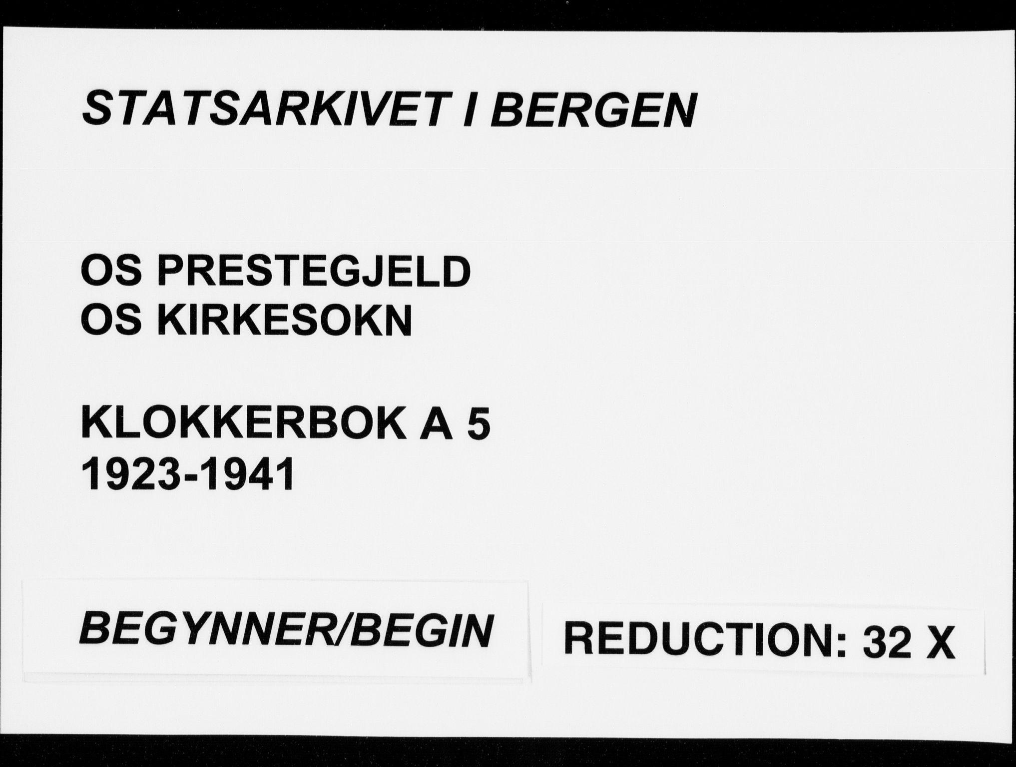 SAB, Os sokneprestembete*, Parish register (copy) no. A 5, 1923-1941