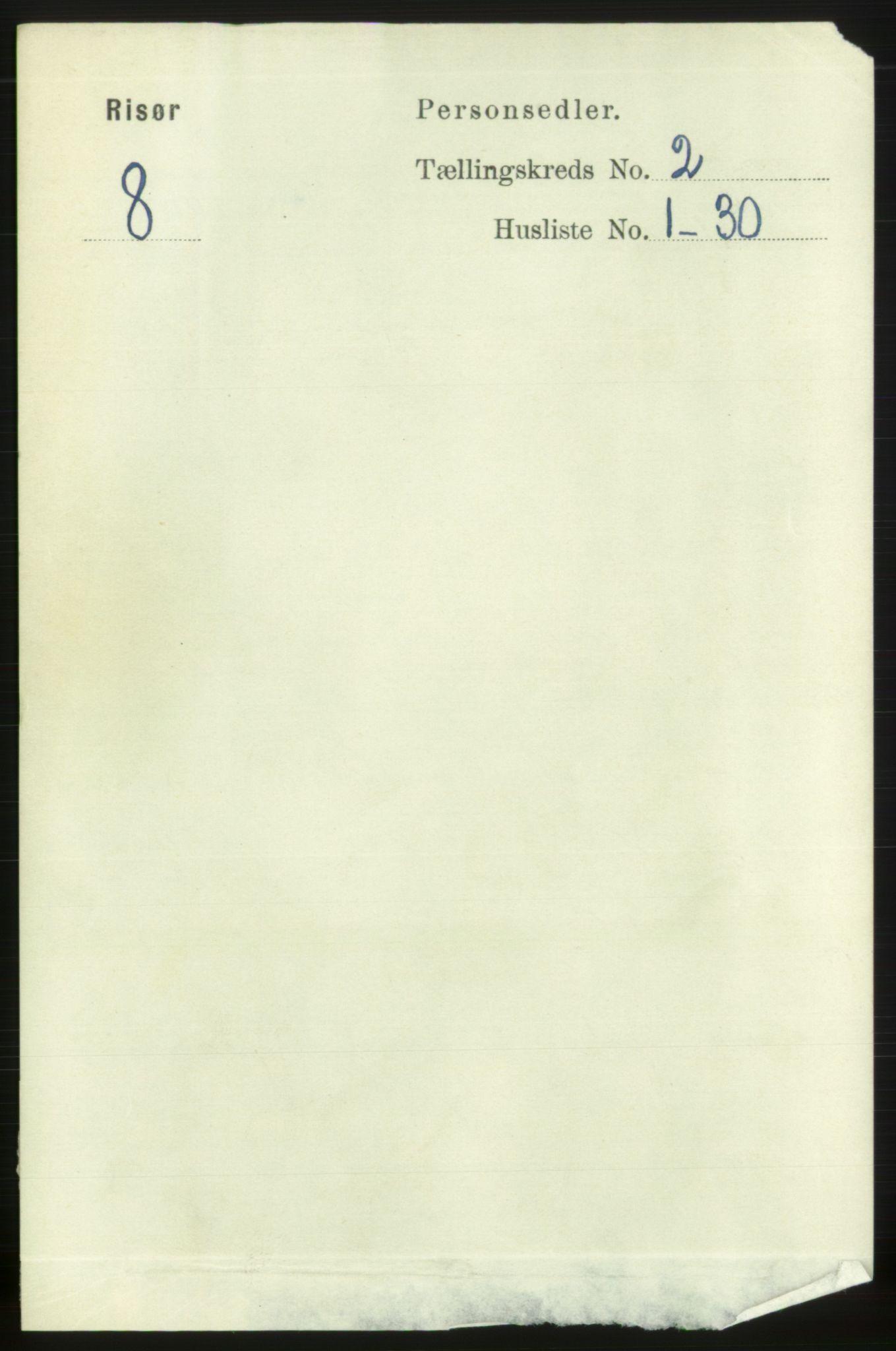 RA, 1891 census for 0901 Risør, 1891, p. 2074