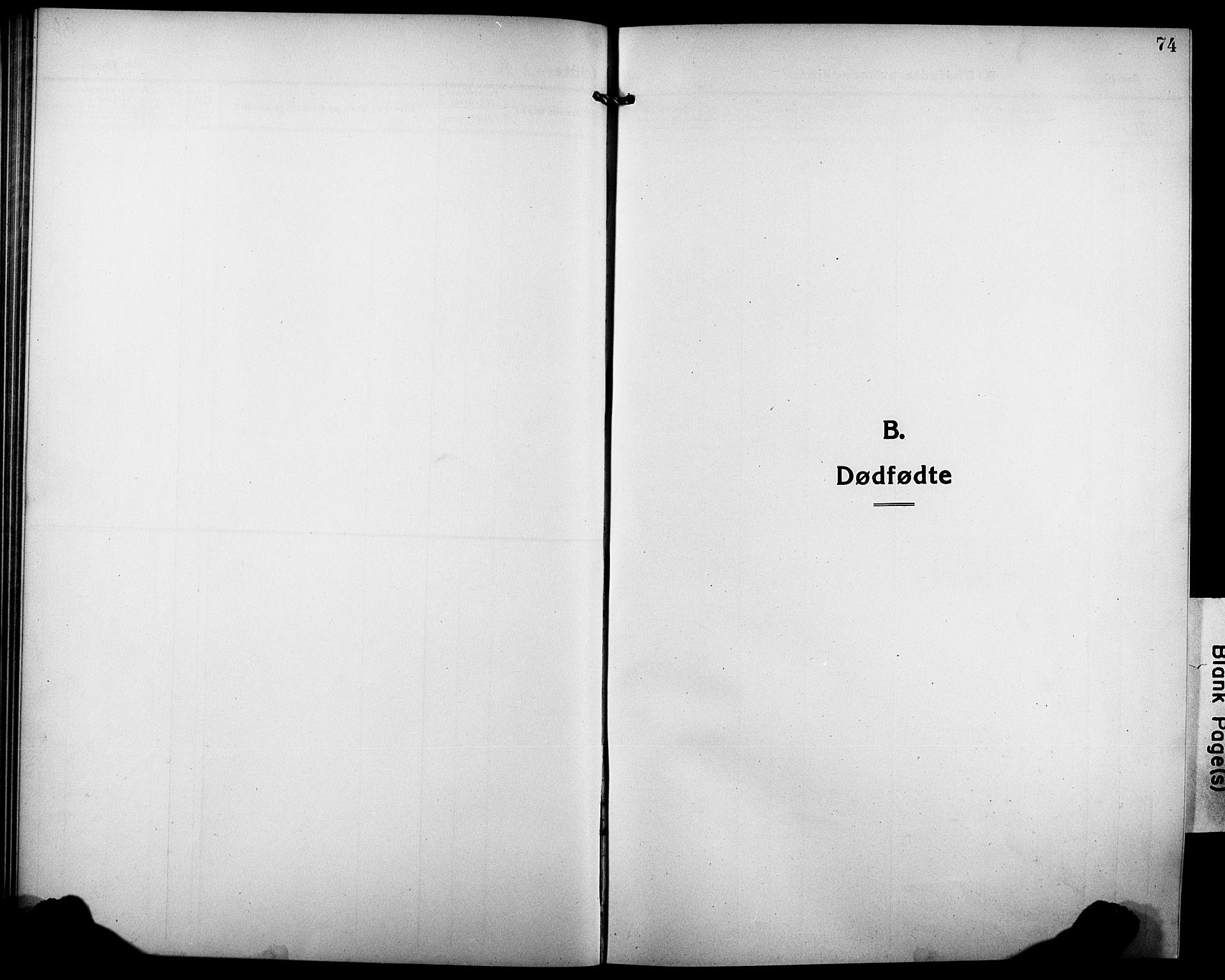 SATØ, Tranøy sokneprestkontor, I/Ia/Iab/L0006klokker: Parish register (copy) no. 6, 1919-1932, p. 74
