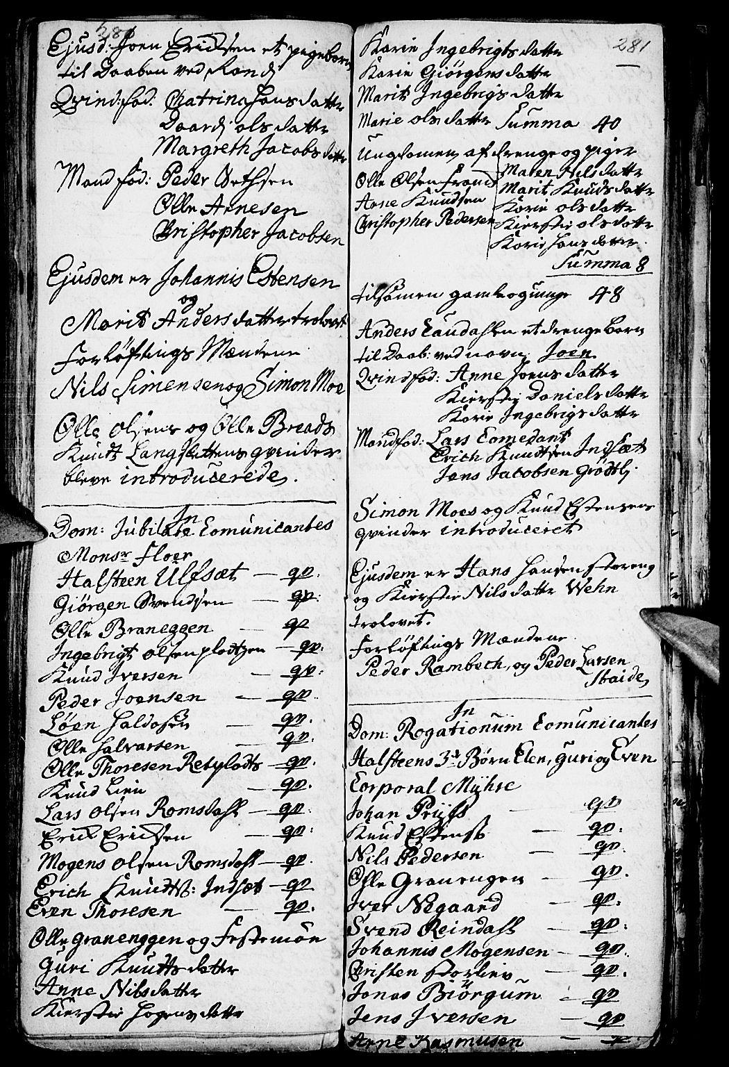 SAH, Kvikne prestekontor, Parish register (official) no. 1, 1740-1756, p. 280-281