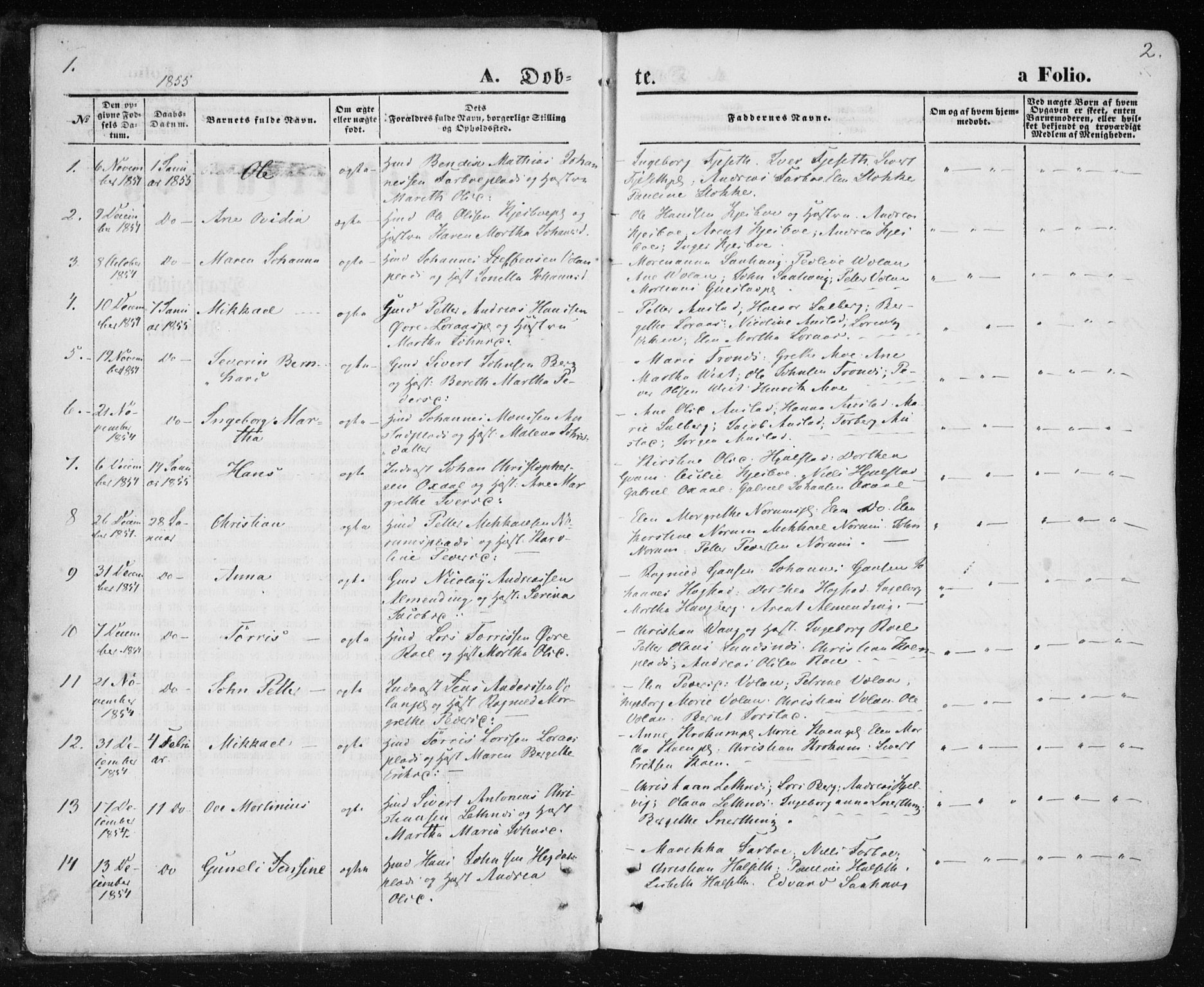 SAT, Ministerialprotokoller, klokkerbøker og fødselsregistre - Nord-Trøndelag, 730/L0283: Parish register (official) no. 730A08, 1855-1865, p. 1-2