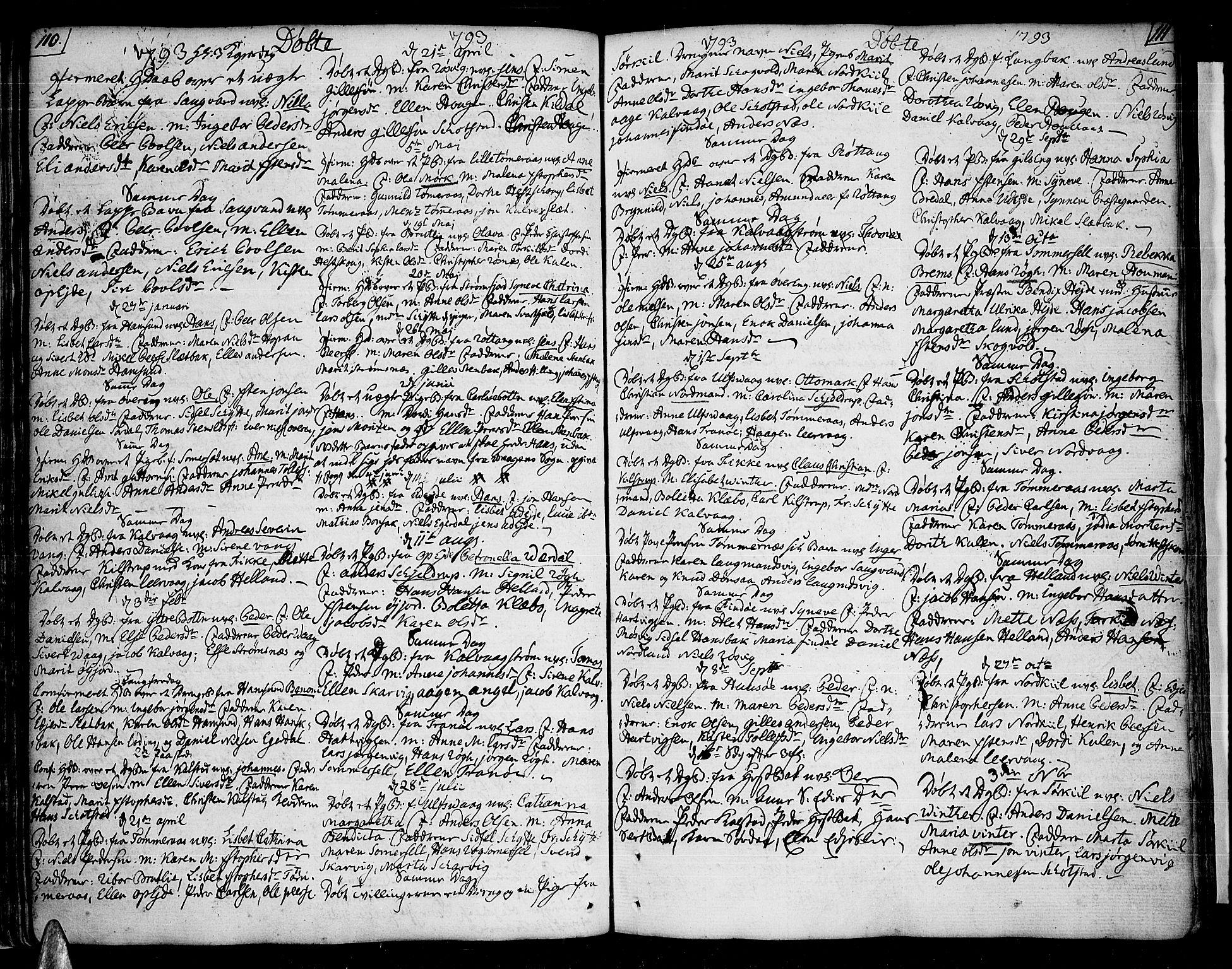 SAT, Ministerialprotokoller, klokkerbøker og fødselsregistre - Nordland, 859/L0841: Parish register (official) no. 859A01, 1766-1821, p. 110-111