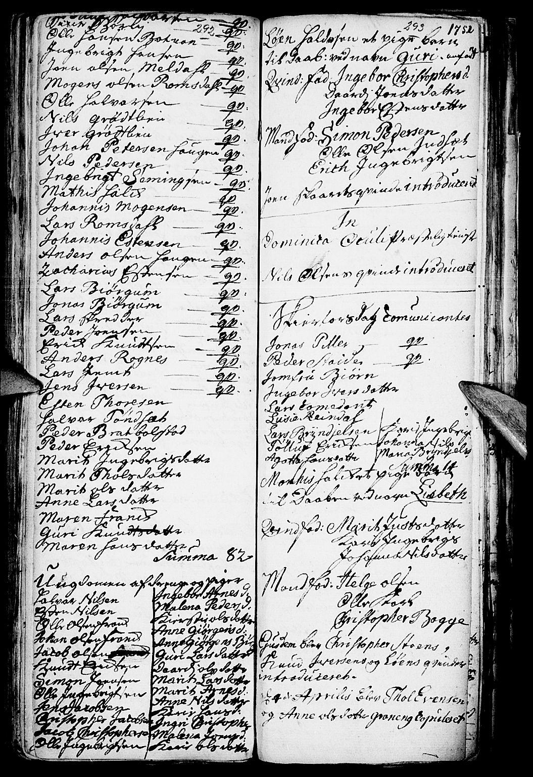 SAH, Kvikne prestekontor, Parish register (official) no. 1, 1740-1756, p. 292-293