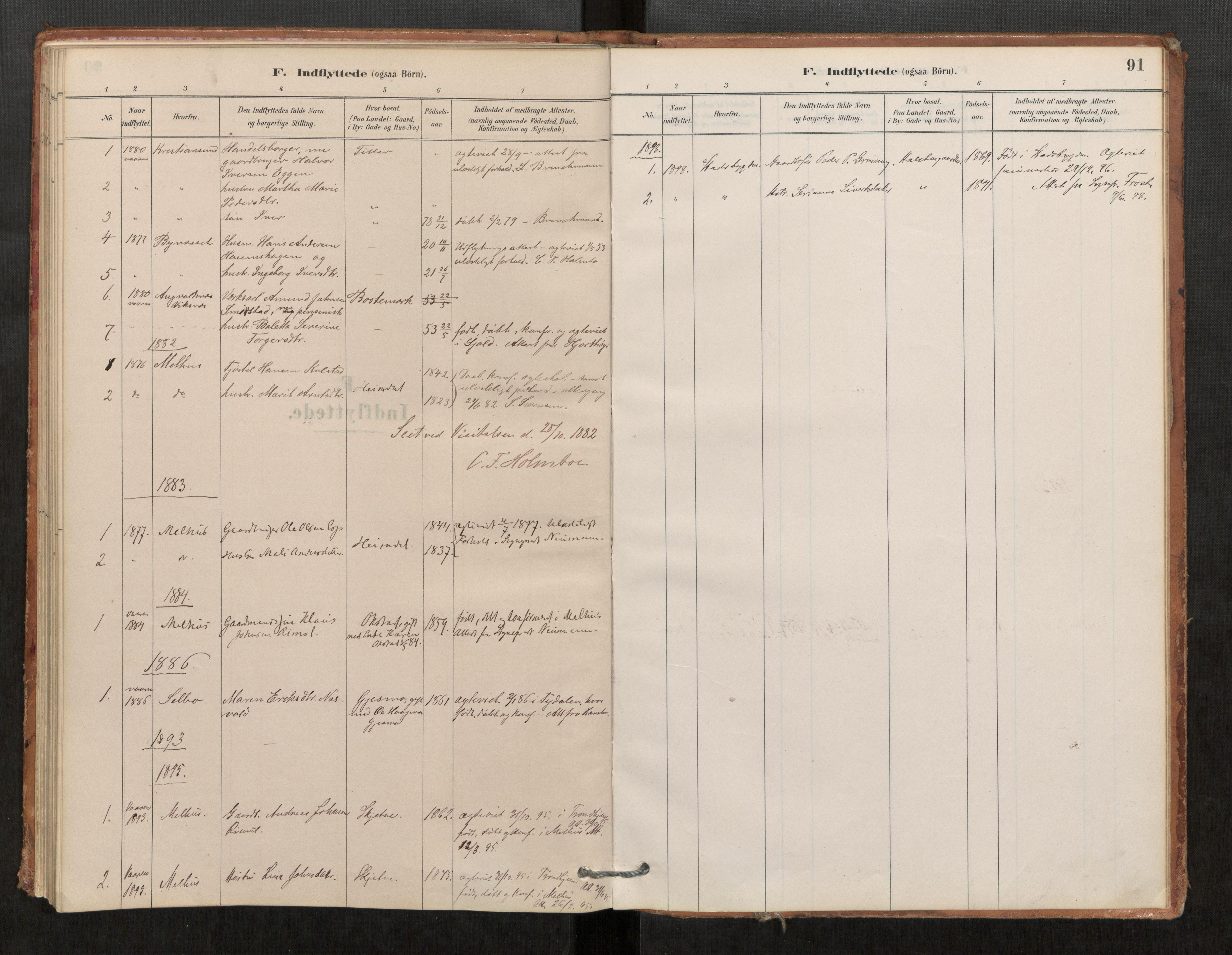 SAT, Klæbu sokneprestkontor, Parish register (official) no. 1, 1880-1900, p. 91