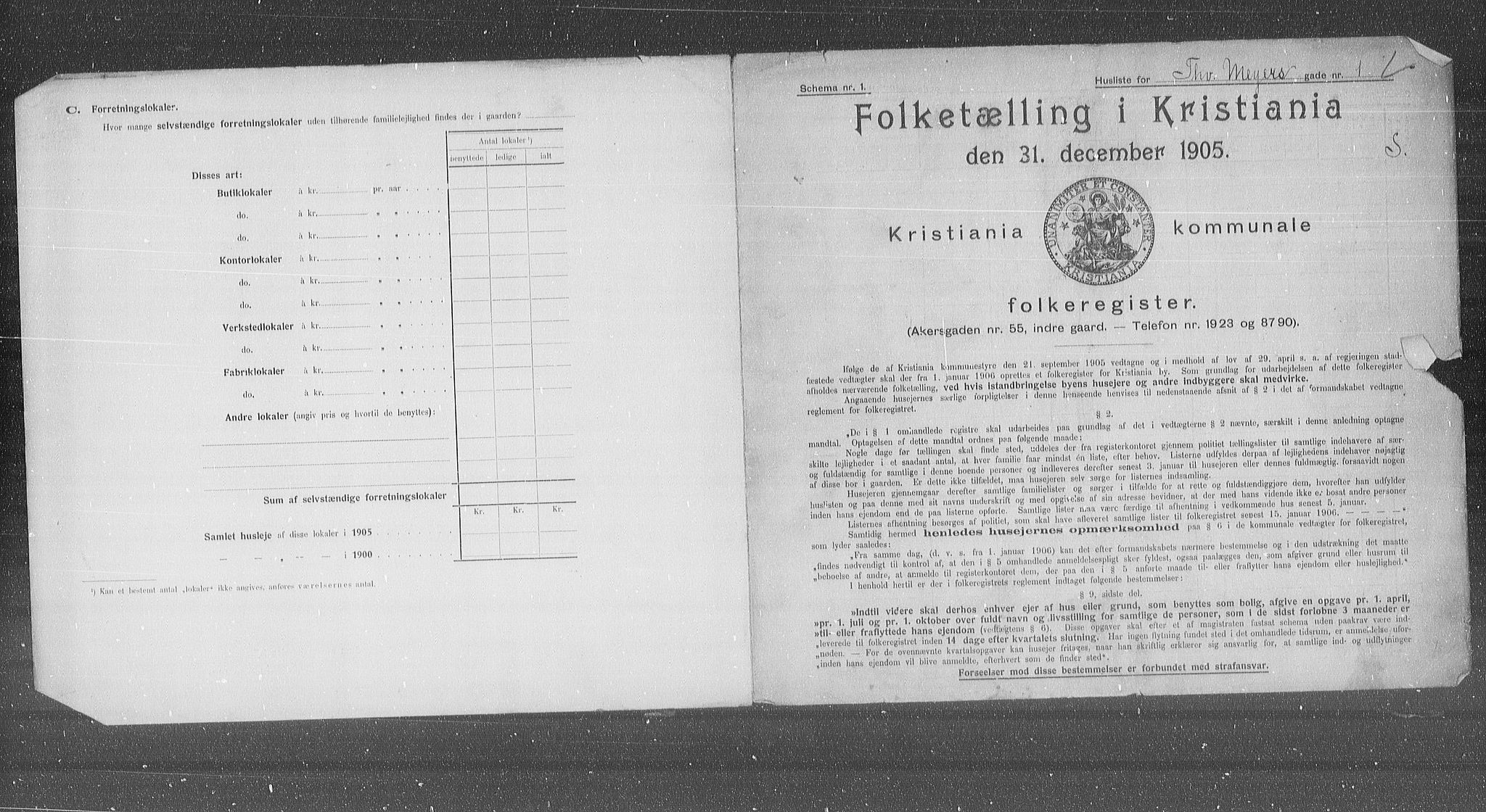 OBA, Municipal Census 1905 for Kristiania, 1905, p. 57340
