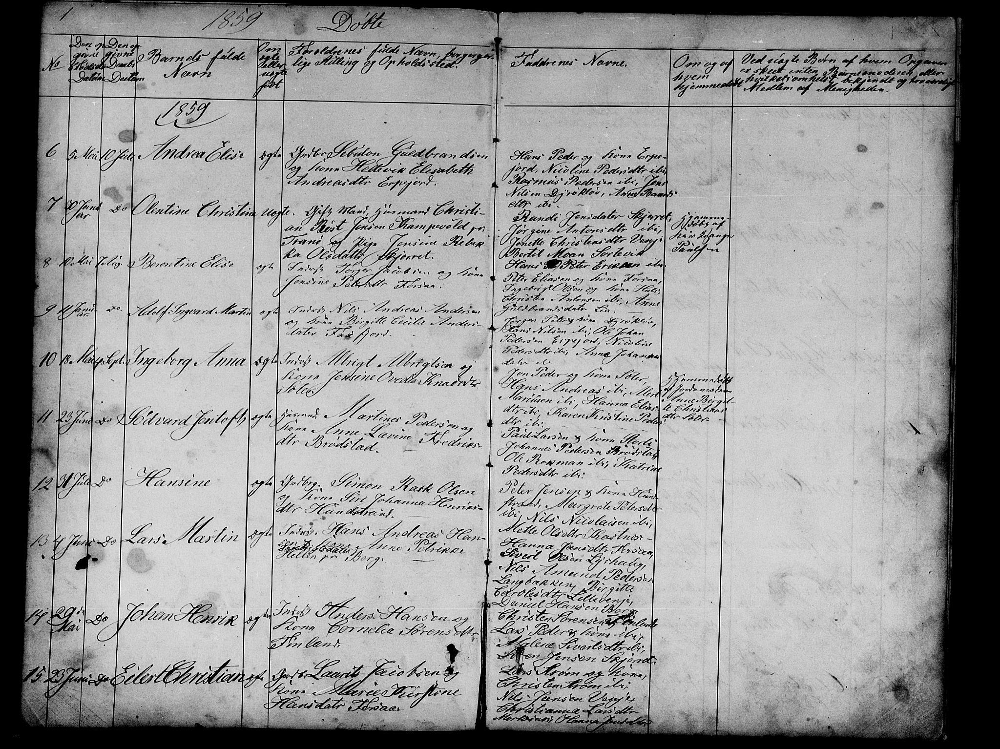 SATØ, Tranøy sokneprestkontor, I/Ia/Iab/L0012klokker: Parish register (copy) no. 12, 1859-1874, p. 1