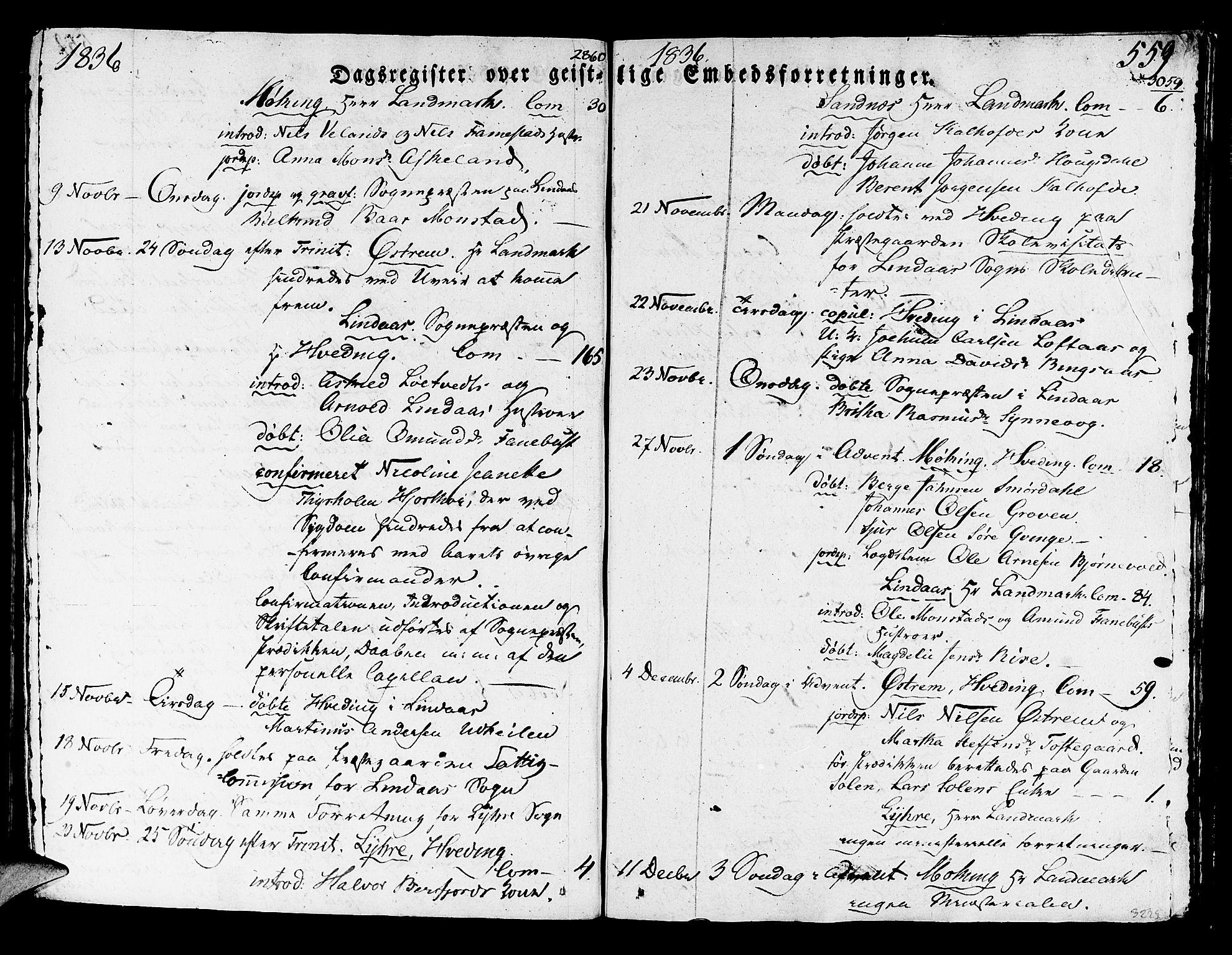 SAB, Lindås Sokneprestembete, H/Haa: Parish register (official) no. A 8, 1823-1836, p. 559