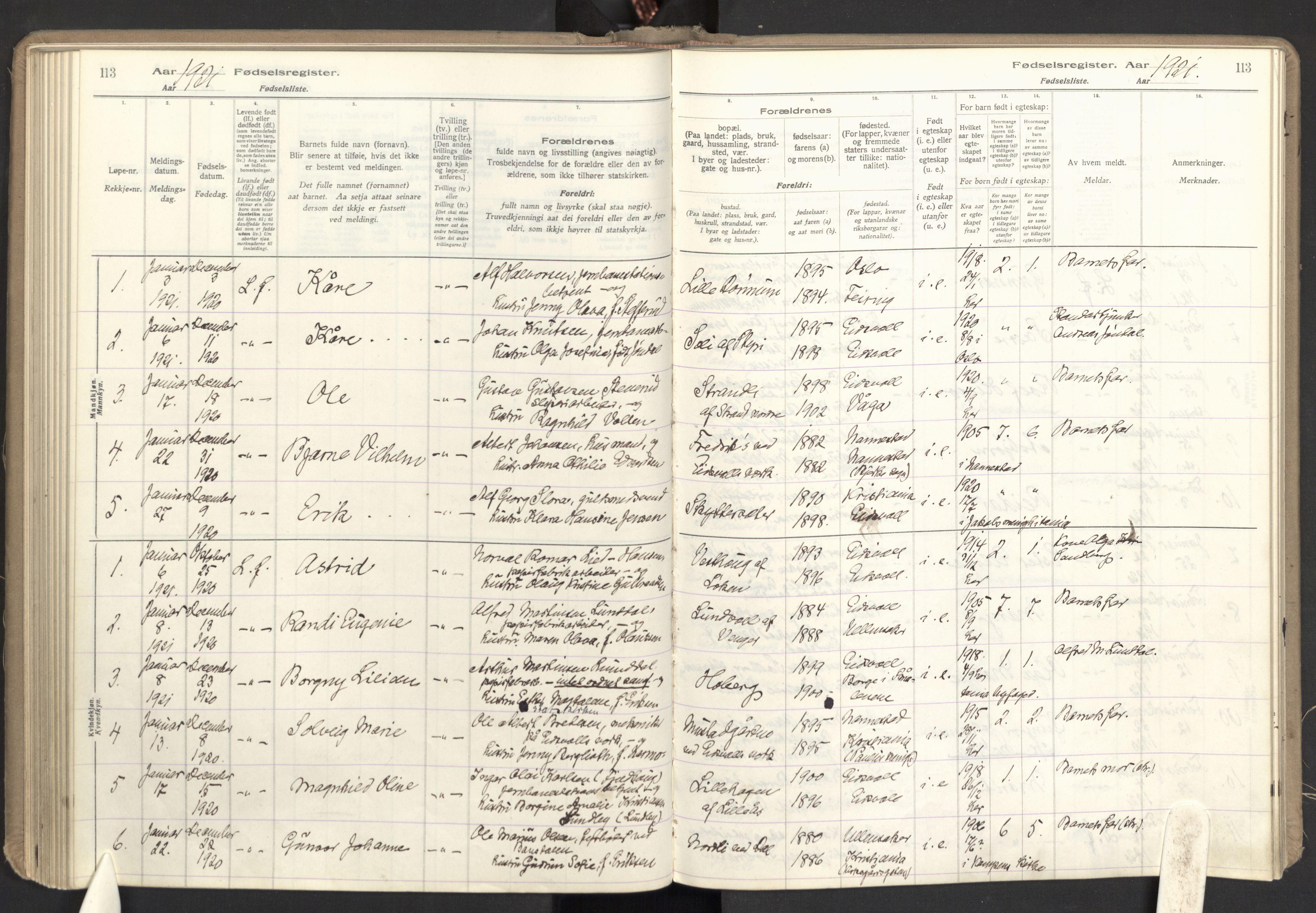 SAO, Eidsvoll prestekontor Kirkebøker, Birth register no. I 1, 1916-1924, p. 113