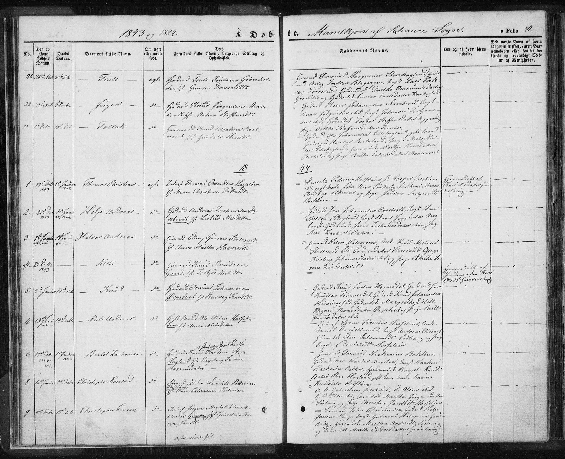 SAST, Torvastad sokneprestkontor, H/Ha/Haa/L0006: Parish register (official) no. A 6, 1836-1847, p. 71