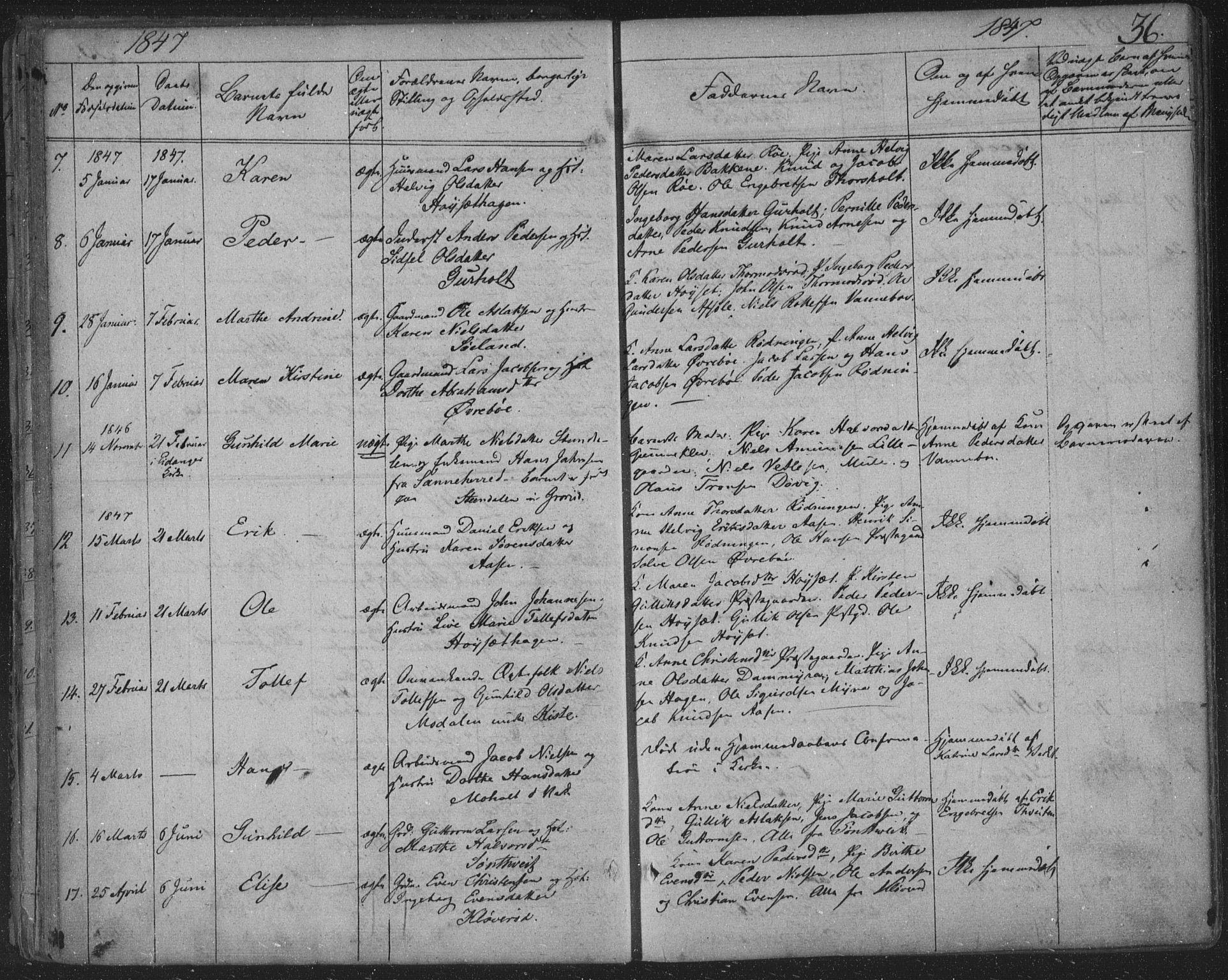 SAKO, Siljan kirkebøker, F/Fa/L0001: Parish register (official) no. 1, 1831-1870, p. 36