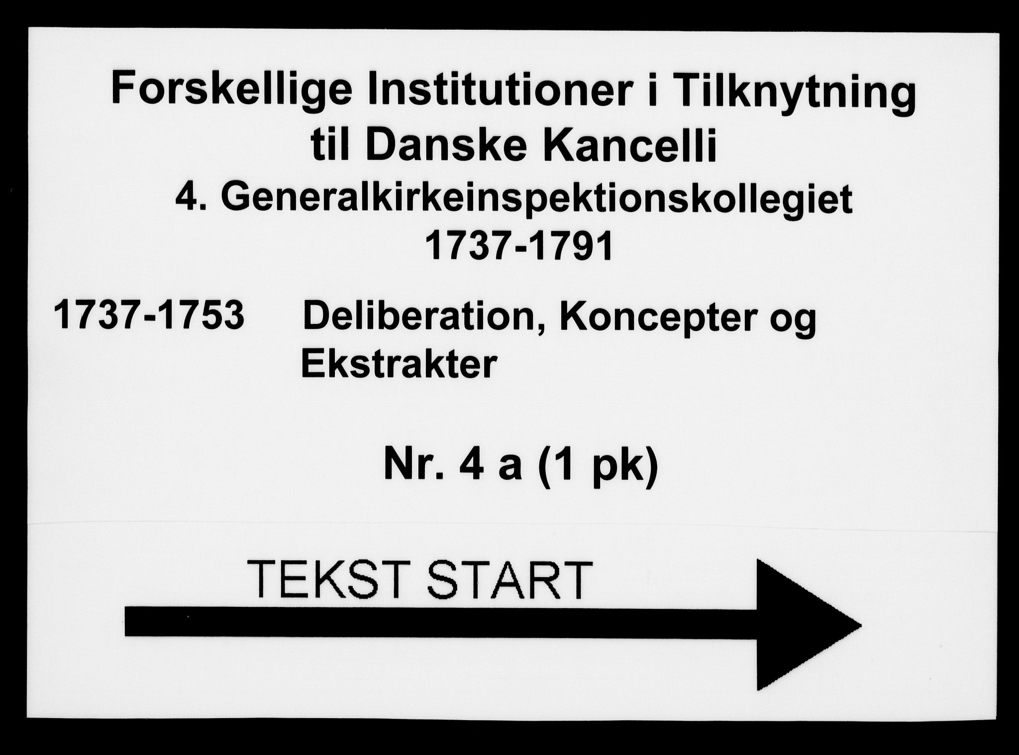 DRA, Generalkirkeinspektionskollegiet, F4-04/F4-04-01: Deliberation, koncepter og ekstrakter, 1737-1753