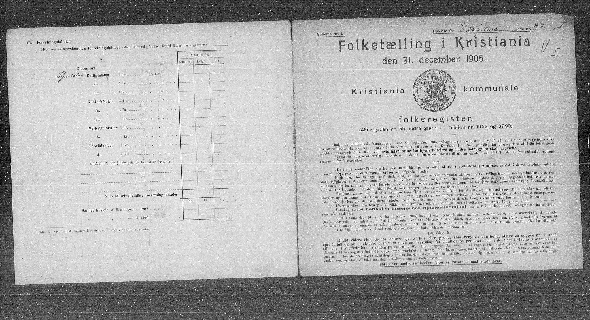 OBA, Municipal Census 1905 for Kristiania, 1905, p. 21520