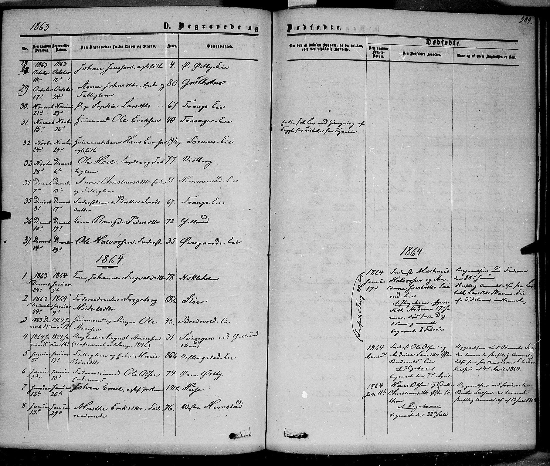 SAH, Stange prestekontor, K/L0013: Parish register (official) no. 13, 1862-1879, p. 309