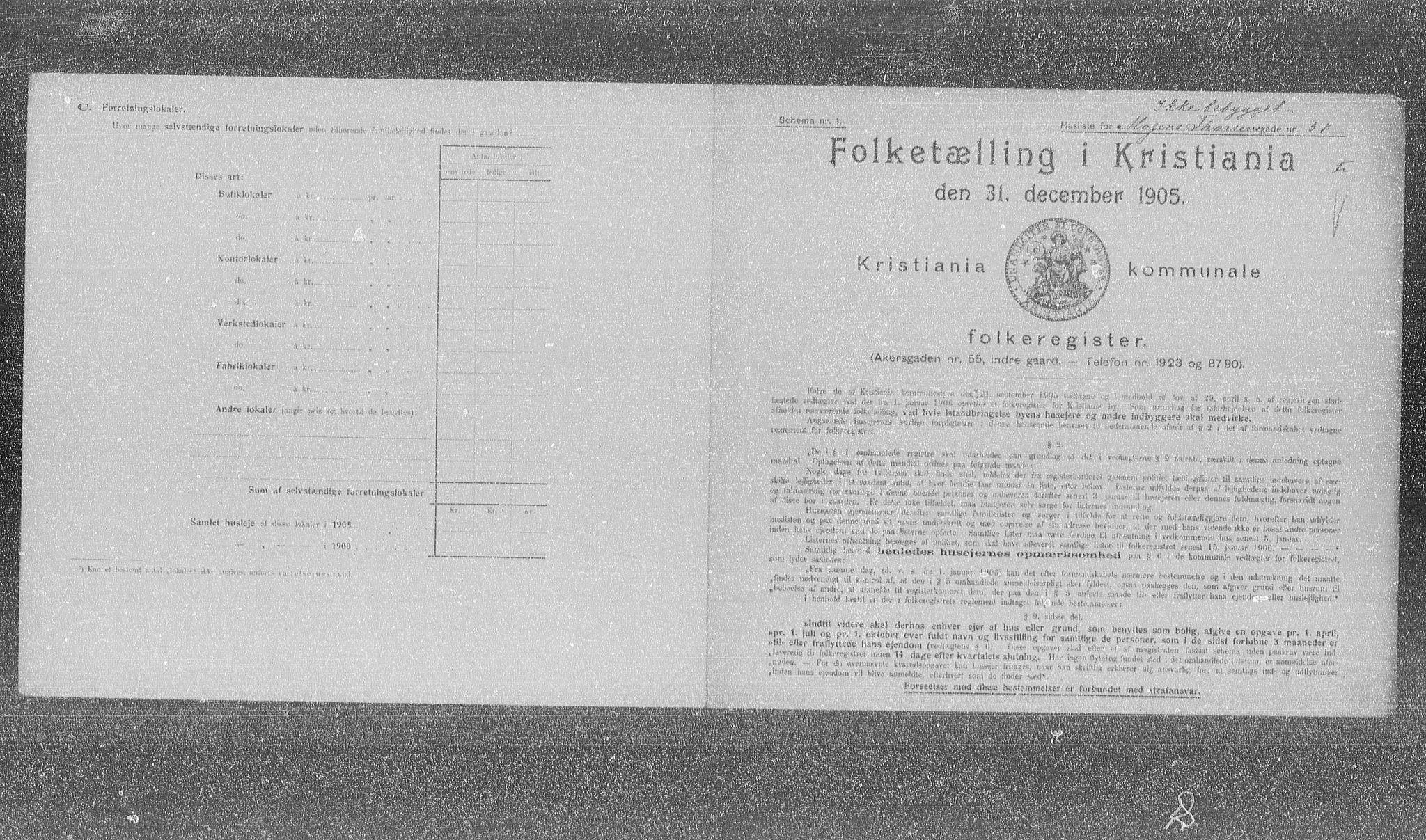 OBA, Municipal Census 1905 for Kristiania, 1905, p. 34445