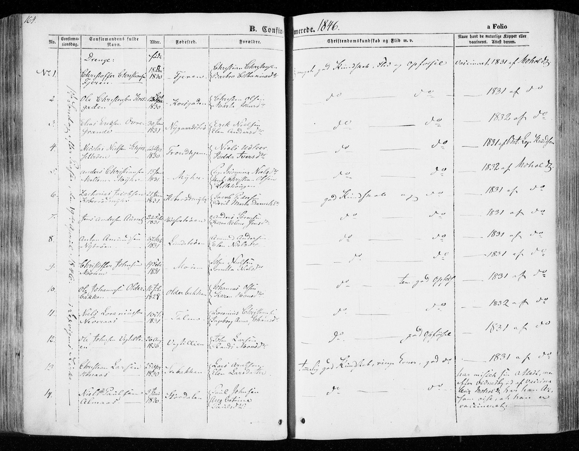 SAT, Ministerialprotokoller, klokkerbøker og fødselsregistre - Nord-Trøndelag, 701/L0007: Parish register (official) no. 701A07 /1, 1842-1854, p. 164