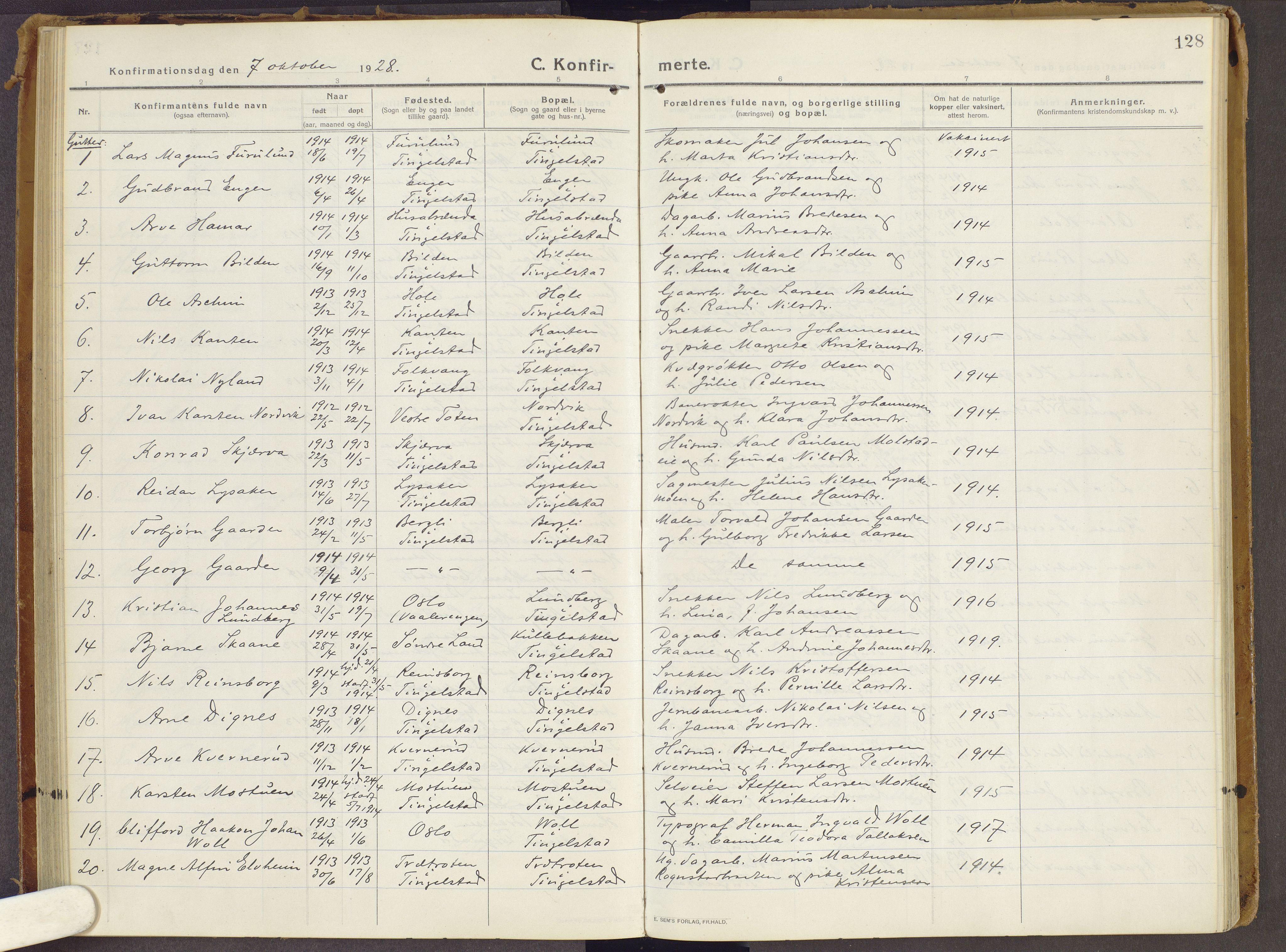 SAH, Brandbu prestekontor, Parish register (official) no. 3, 1914-1928, p. 128