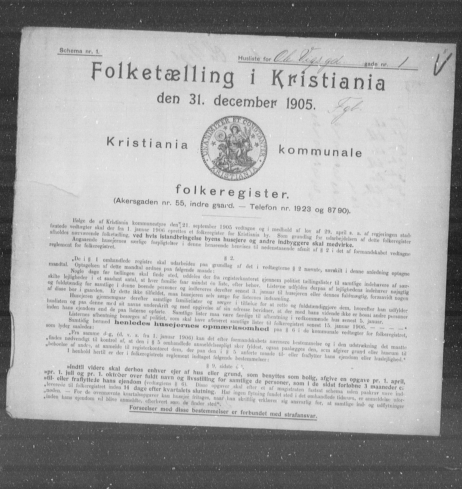 OBA, Municipal Census 1905 for Kristiania, 1905, p. 39674