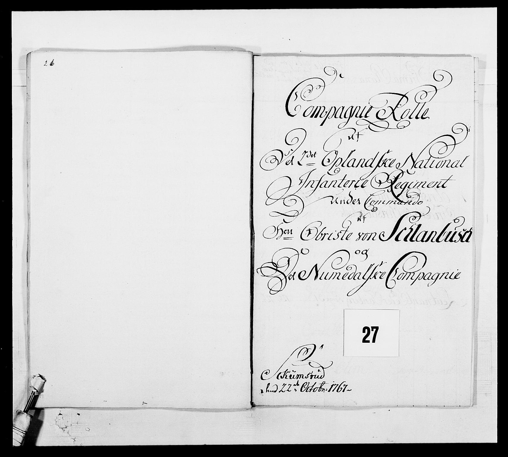 RA, Kommanderende general (KG I) med Det norske krigsdirektorium, E/Ea/L0507: 2. Opplandske regiment, 1766-1767, p. 589