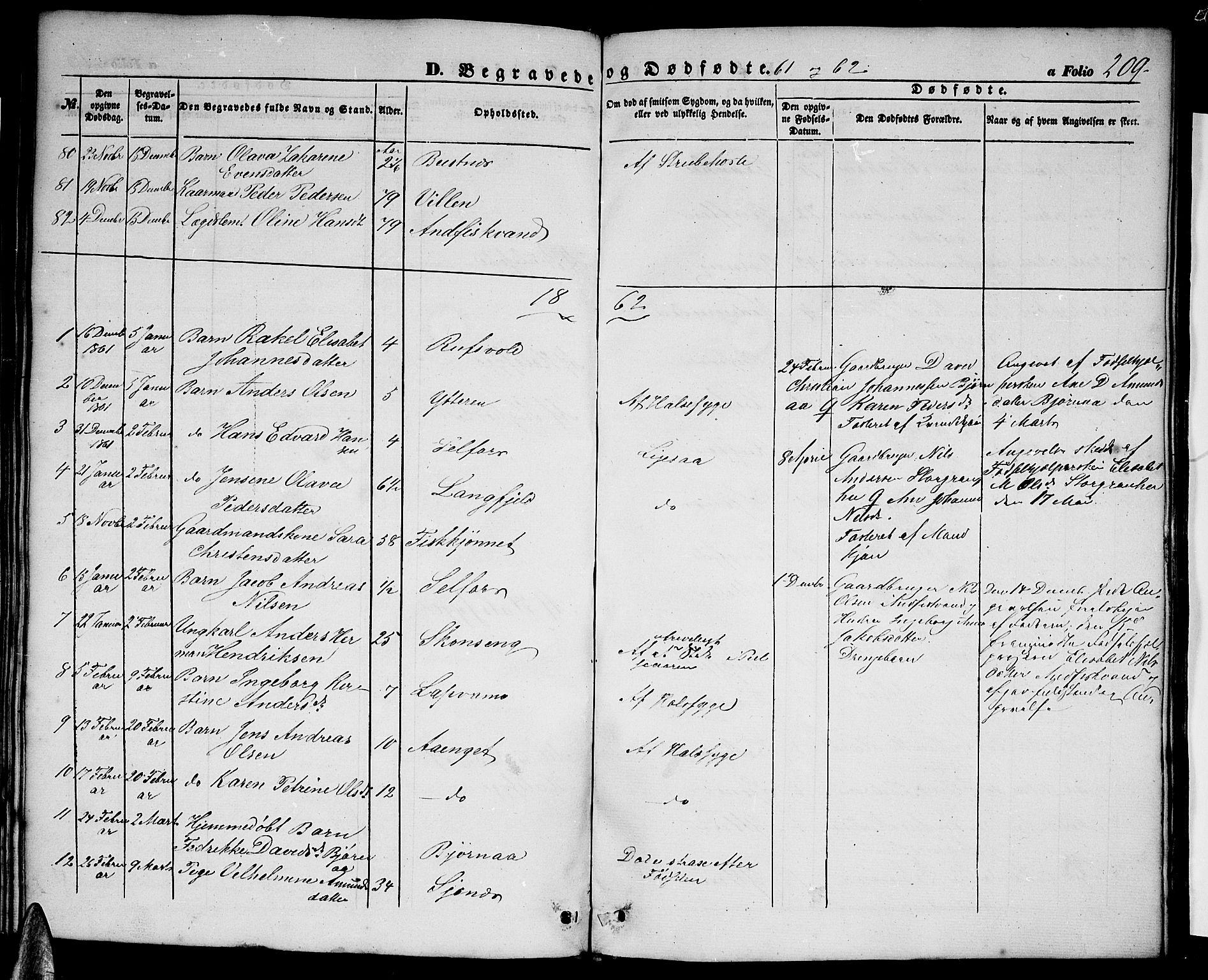 SAT, Ministerialprotokoller, klokkerbøker og fødselsregistre - Nordland, 827/L0414: Parish register (copy) no. 827C03, 1853-1865, p. 209