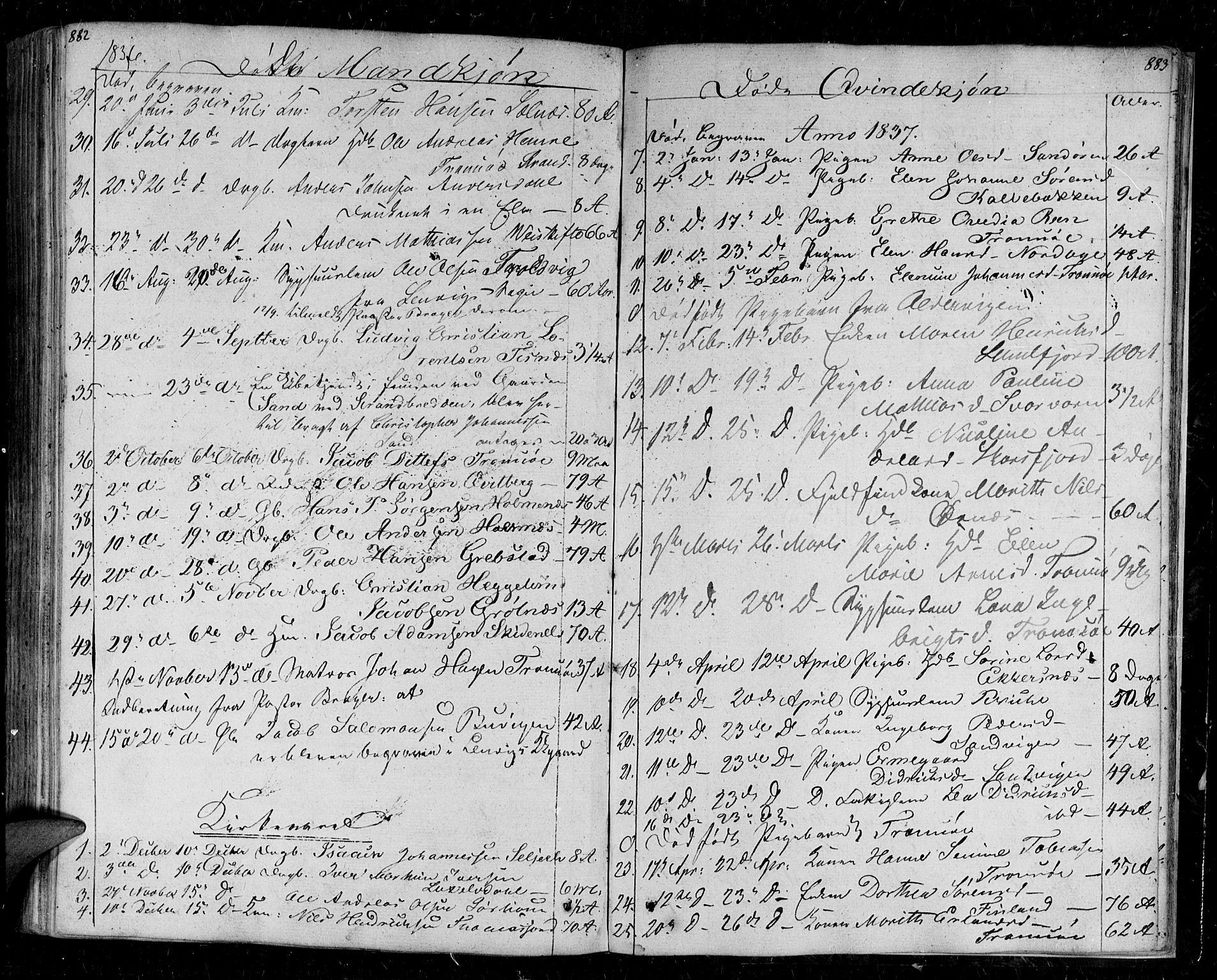 SATØ, Tromsø sokneprestkontor/stiftsprosti/domprosti, G/Ga/L0008kirke: Parish register (official) no. 8, 1829-1837, p. 882-883