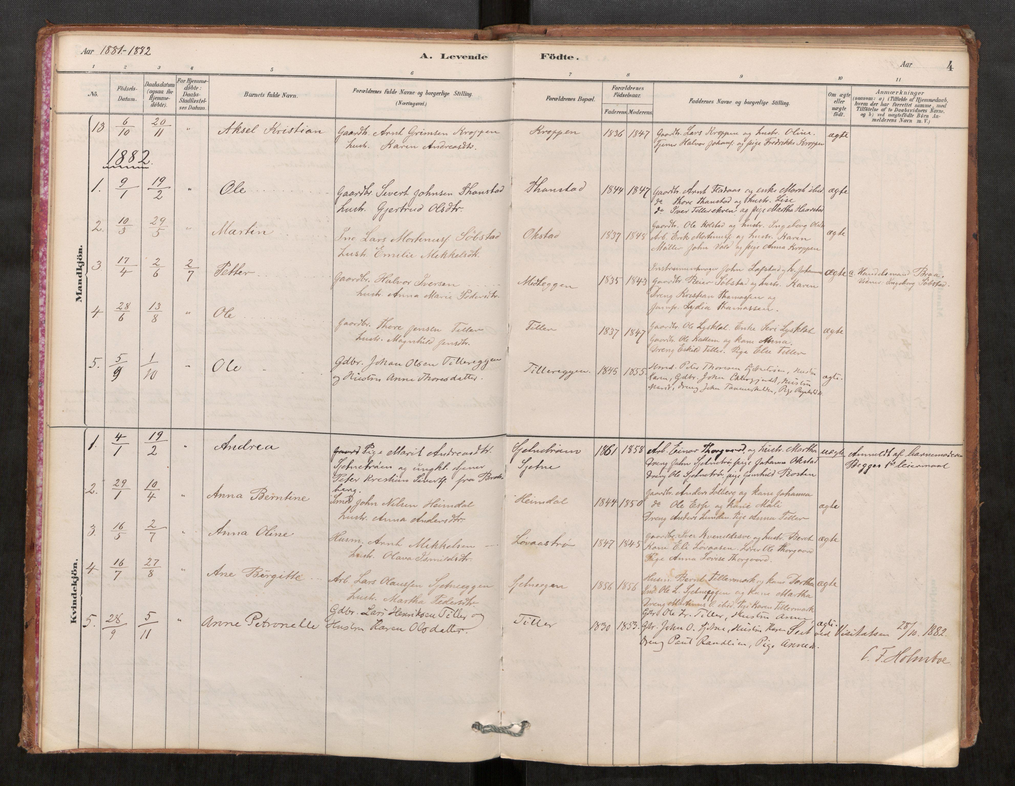 SAT, Klæbu sokneprestkontor, Parish register (official) no. 1, 1880-1900, p. 4