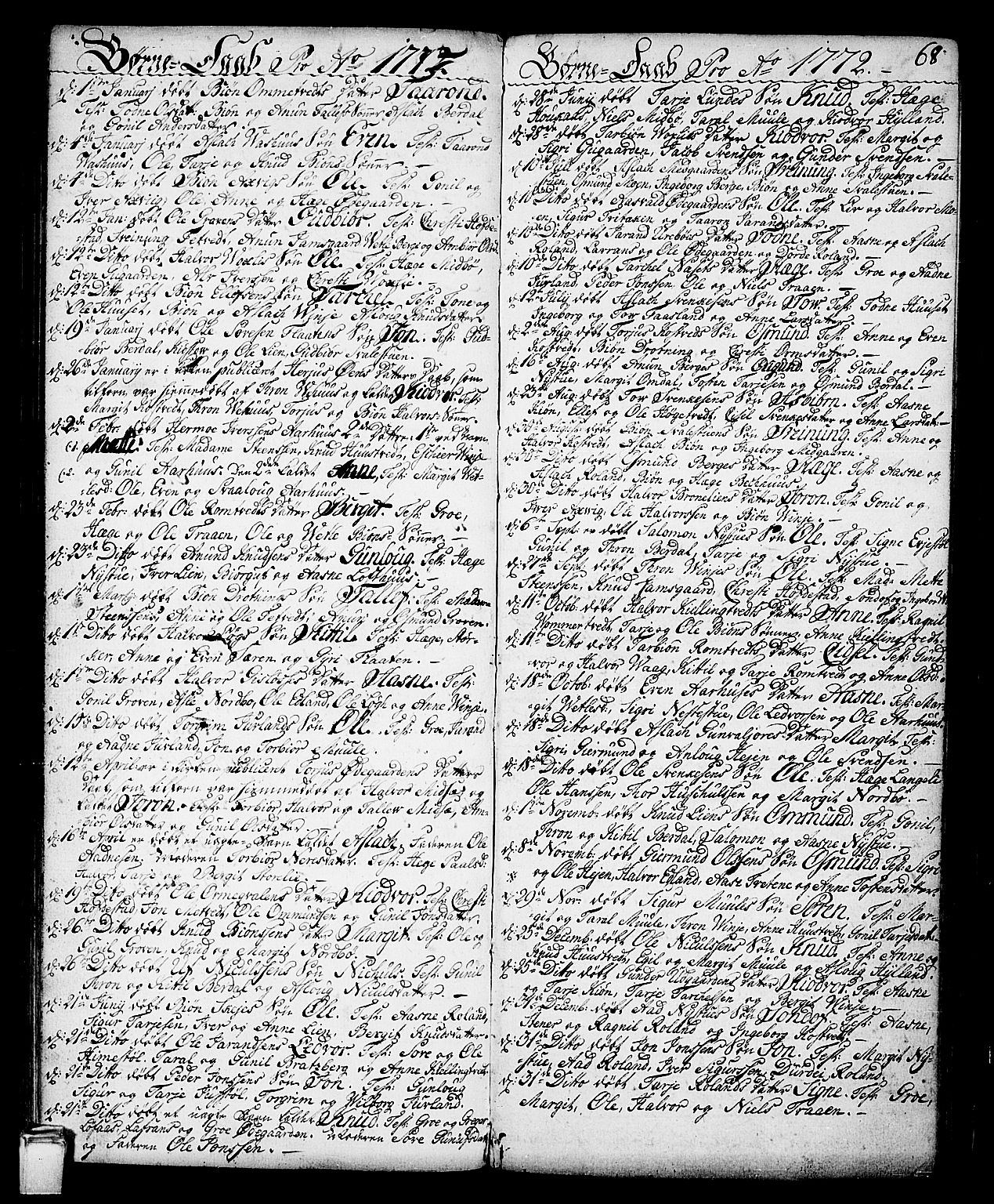 SAKO, Vinje kirkebøker, F/Fa/L0002: Parish register (official) no. I 2, 1767-1814, p. 68