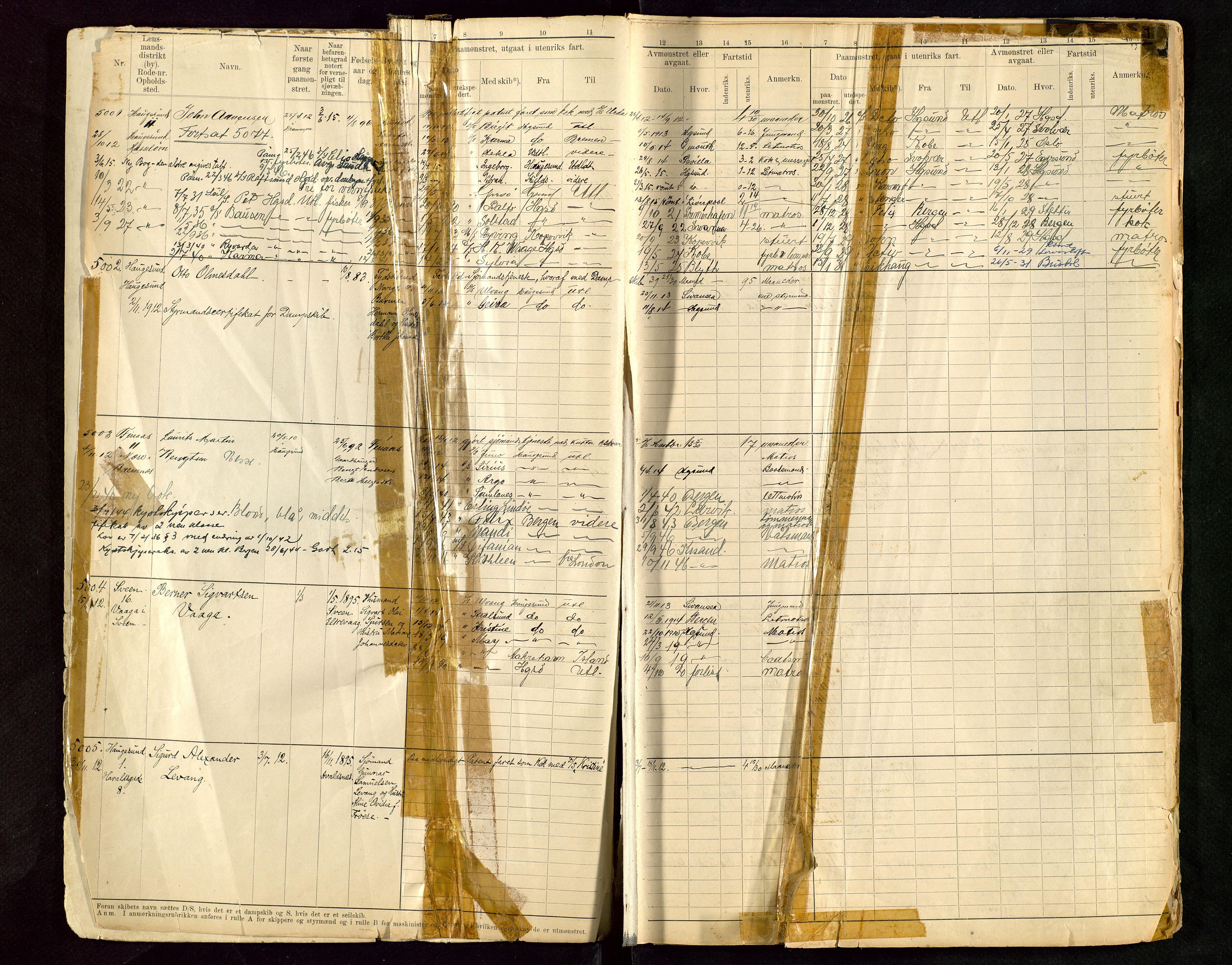 SAST, Haugesund sjømannskontor, F/Fb/Fbb/L0015: Sjøfartsrulle A Haugesund krets I nr 5001-8970, 1912-1948, p. 1