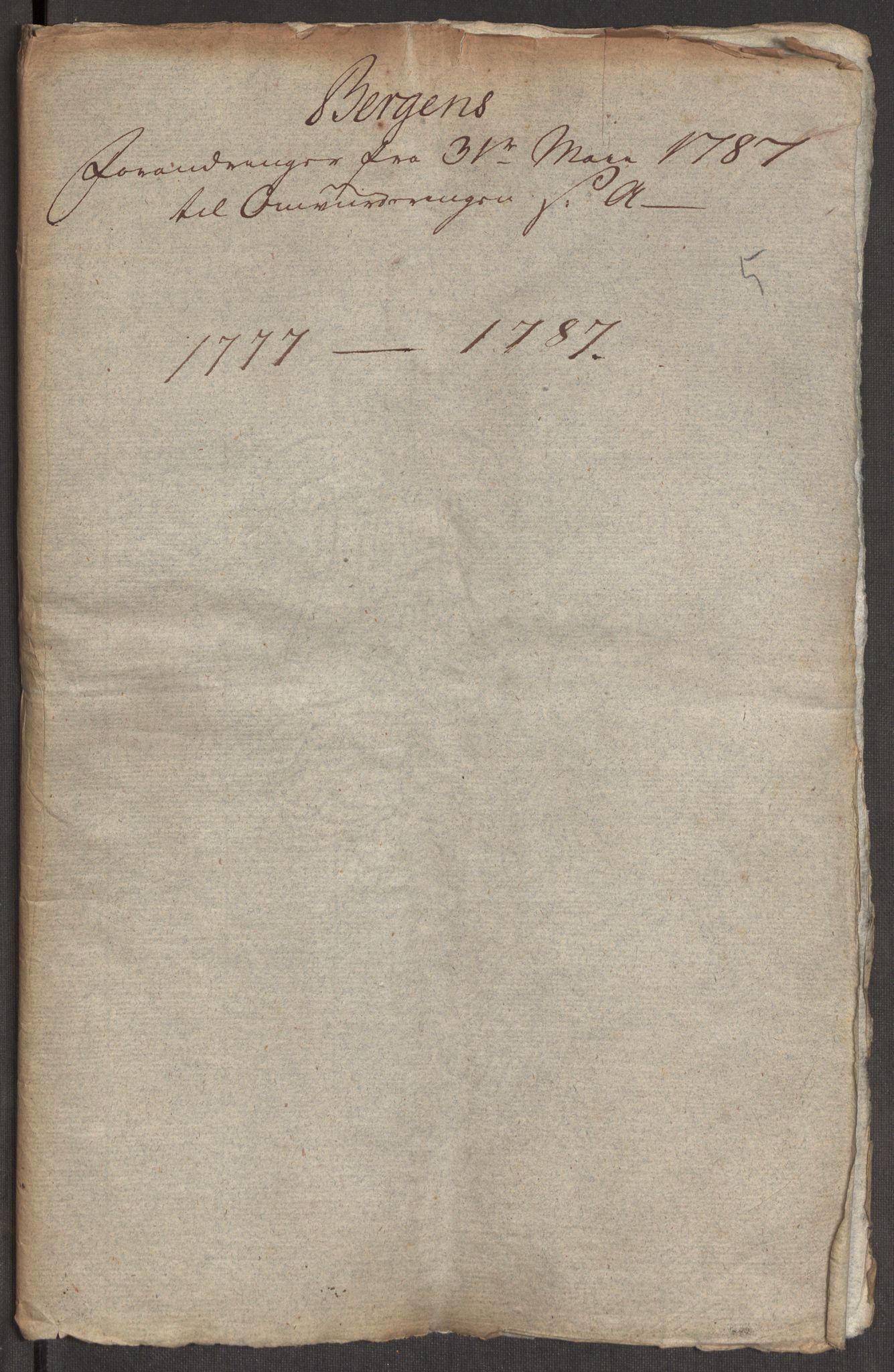 RA, Kommersekollegiet, Brannforsikringskontoret 1767-1814, F/Fa/L0004b: Bergen, 1777-1787