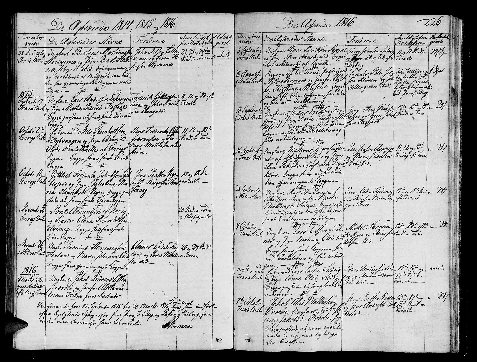 SATØ, Tranøy sokneprestkontor, I/Ia/Iaa/L0003kirke: Parish register (official) no. 3, 1807-1820, p. 226