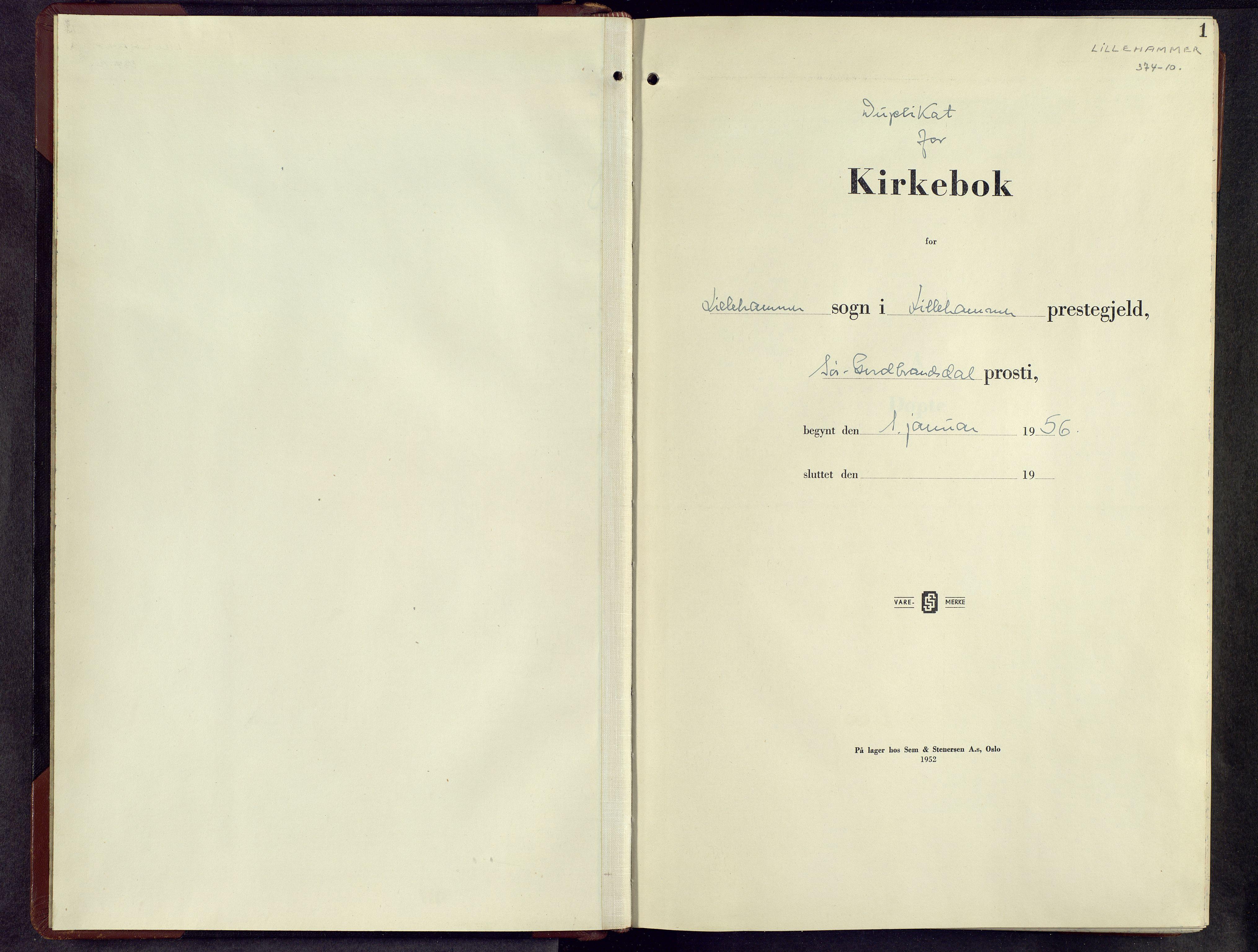 SAH, Lillehammer prestekontor, H/Ha/Hab/L0006: Parish register (copy) no. 6, 1956-1958, p. 1