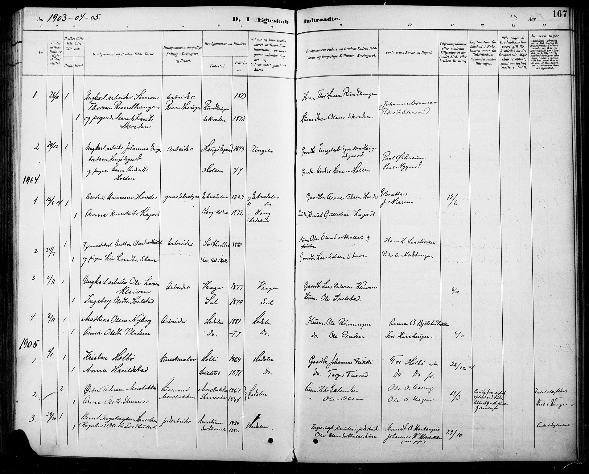 SAH, Sel prestekontor, Parish register (copy) no. 5, 1894-1923, p. 167