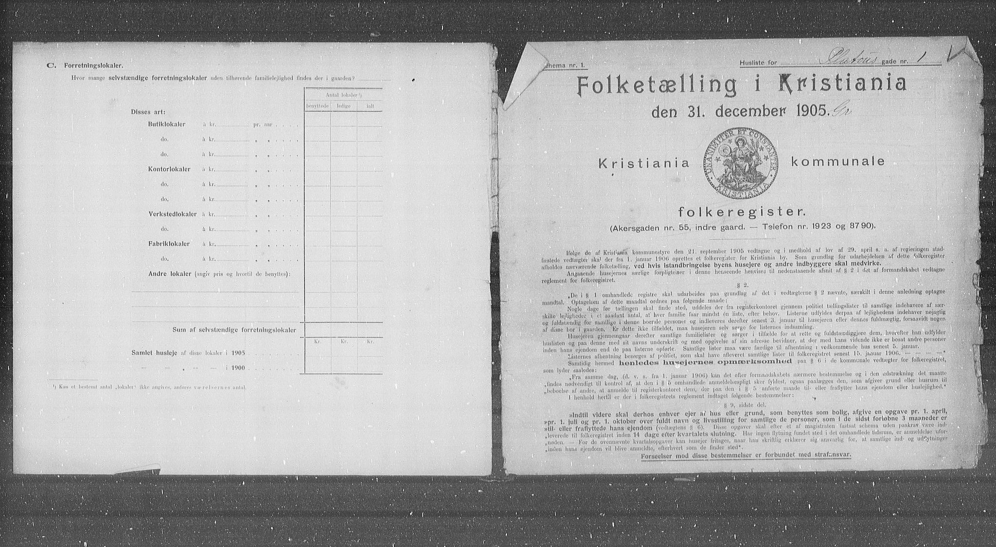 OBA, Municipal Census 1905 for Kristiania, 1905, p. 42205