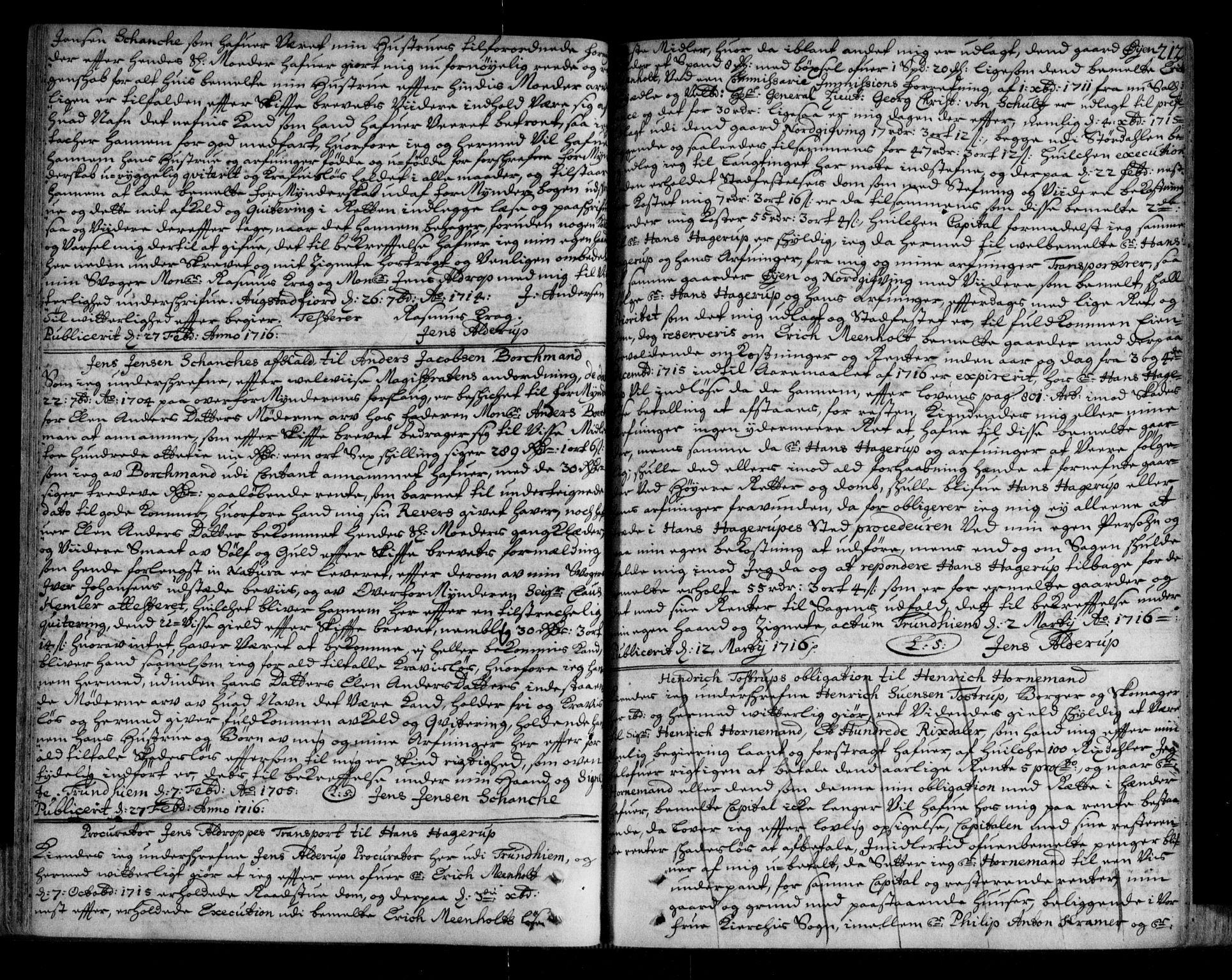 SAT, Trondheim byfogd, 2/2C/L0005: Mortgage book no. 3, 1709-1720, p. 212