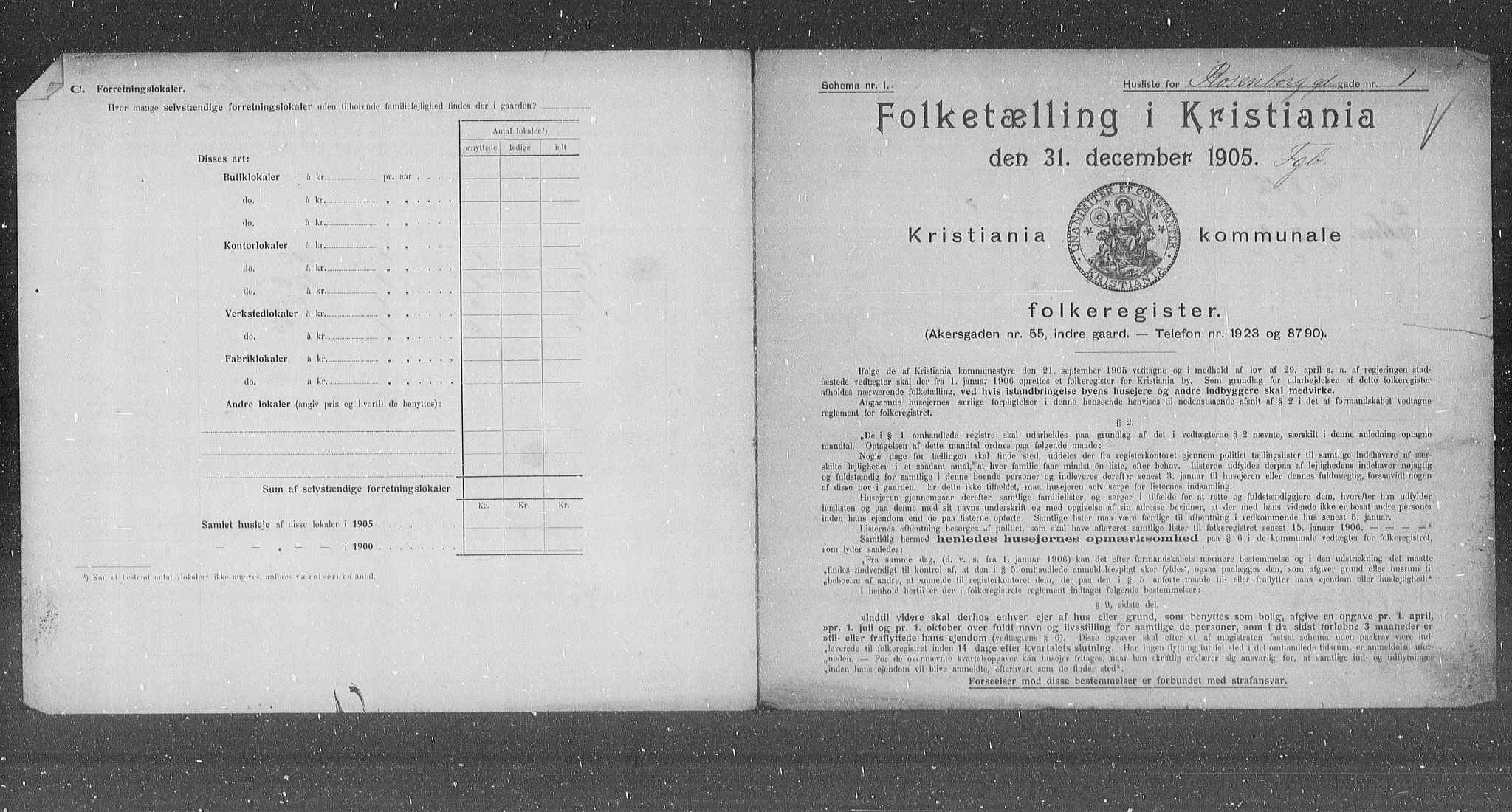 OBA, Municipal Census 1905 for Kristiania, 1905, p. 43907